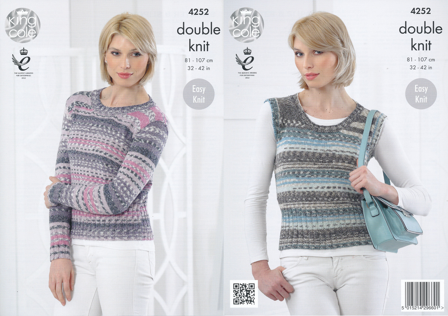 King Cole Ladies Double Knitting DK Pattern Ribbed Sweater Jumper Pullover 42...