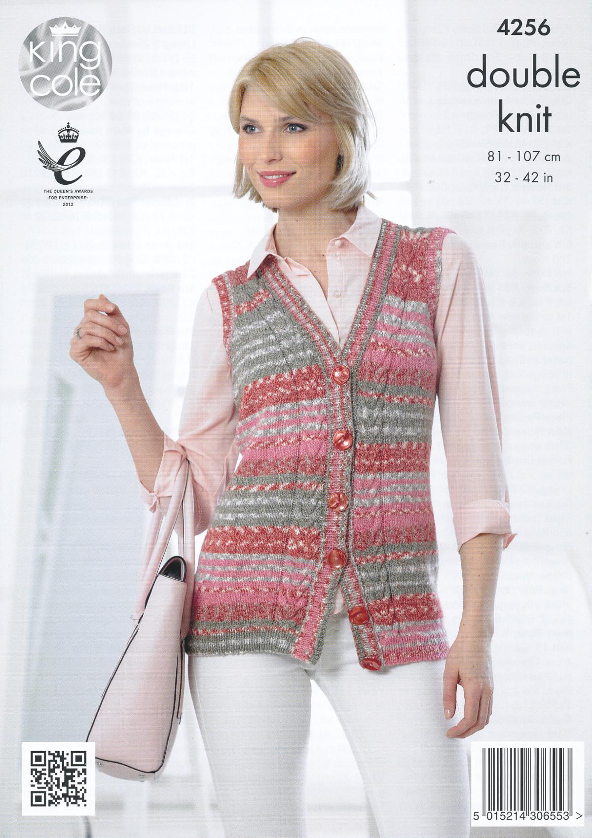 King Cole Ladies Cardigan Knitting Pattern : Womens Cable Knit Waistcoat Cardigan Knitting Pattern Drifter DK King Cole 42...