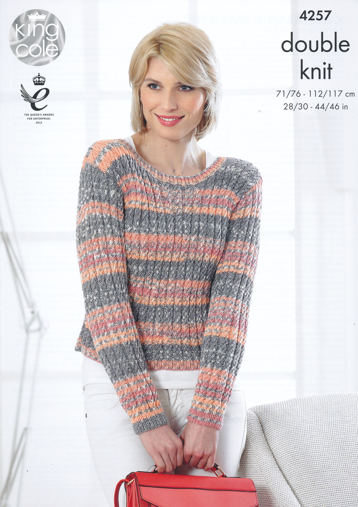 Knitting Patterns Ladies Jumpers Double Knit : Womens Double Knitting Pattern King Cole Ladies DK Sweater Jumper Cardigan 42...