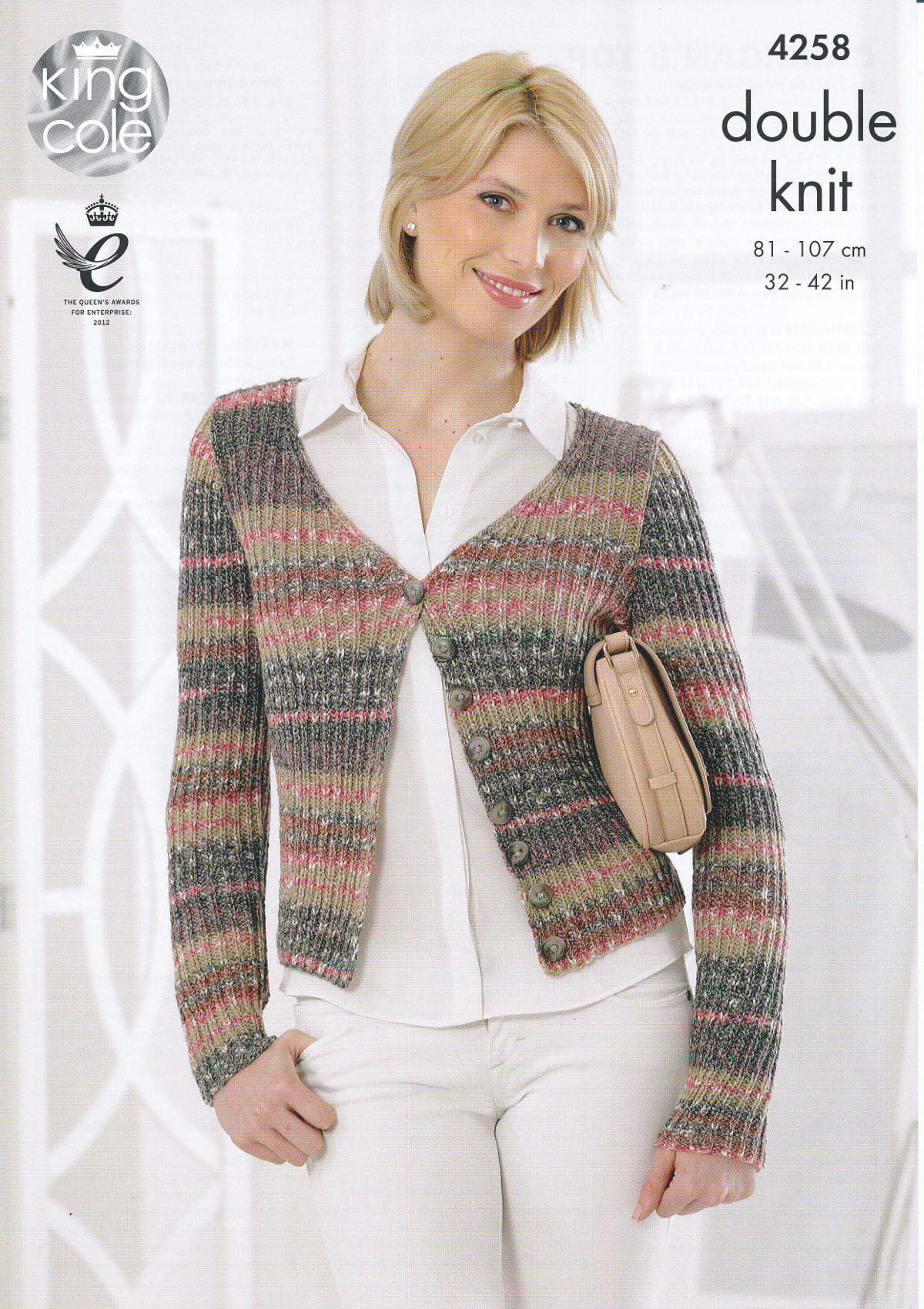 Knitting Pattern Ladies V Neck Jumper : King Cole Womens Double Knitting Pattern Ladies V Neck Cardigan Jumper DK 425...