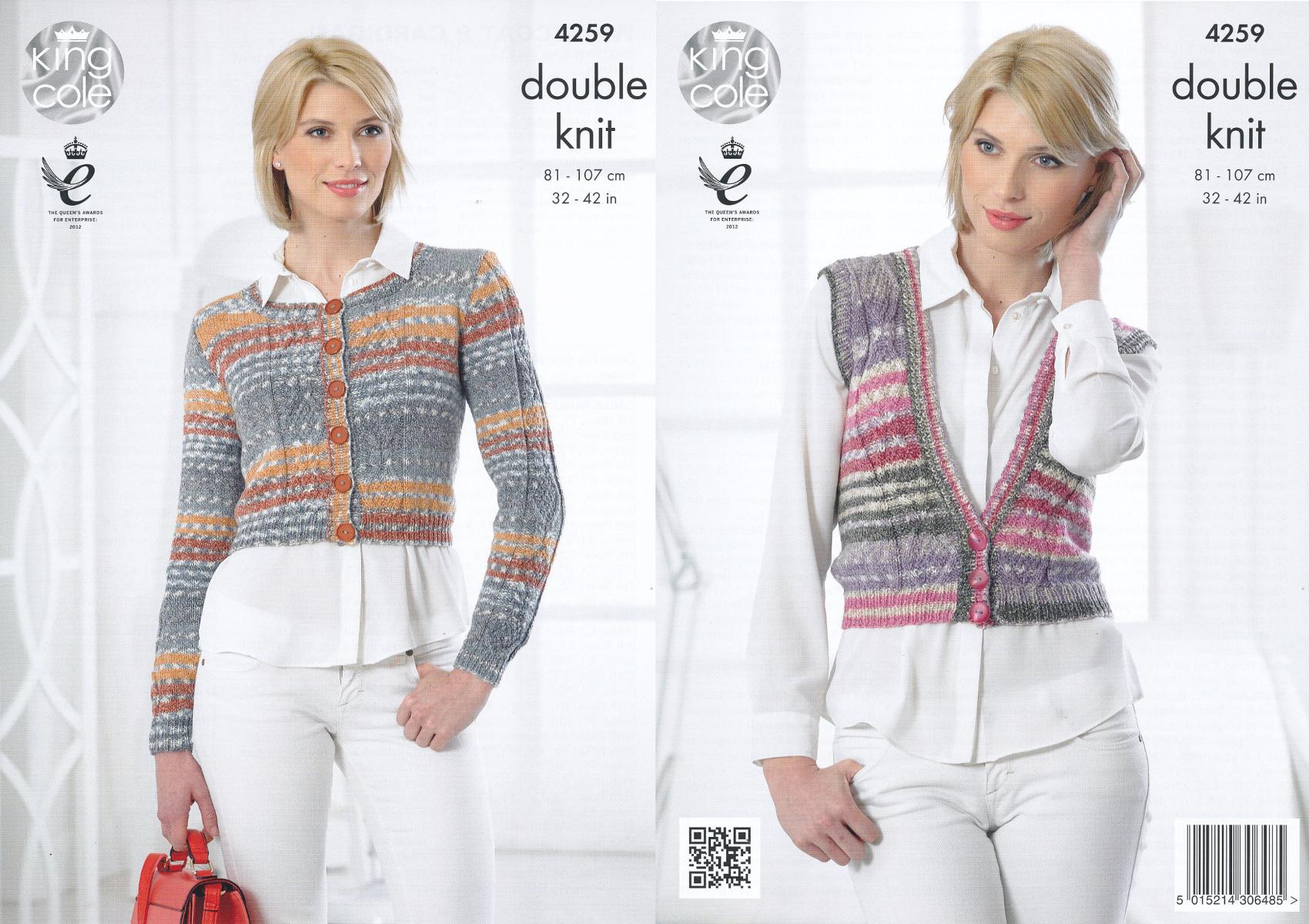 King Cole Ladies Cardigan Knitting Pattern : King Cole Womens Double Knitting Pattern Cable Knit Waistcoat Cardigan DK 425...