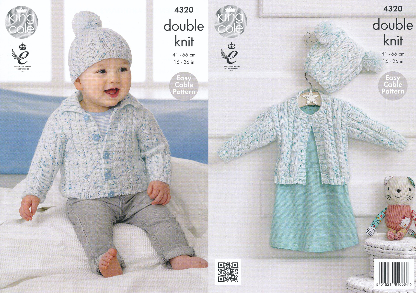 Smarty DK Knitting Pattern King Cole Childrens Cable Knit Cardigans & Hat...
