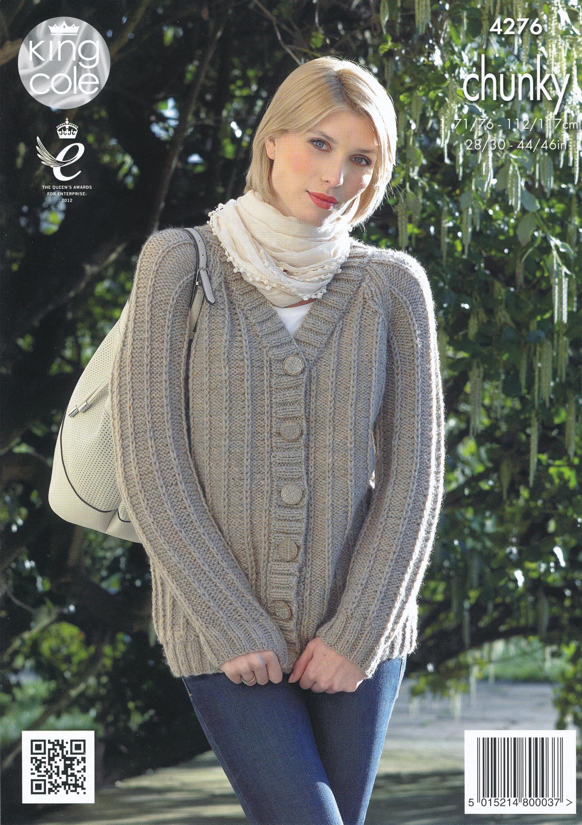 King Cole Knitting Pattern 3318 : King Cole Ladies Magnum Chunky Knitting Pattern Raglan Sweater & Cardigan...