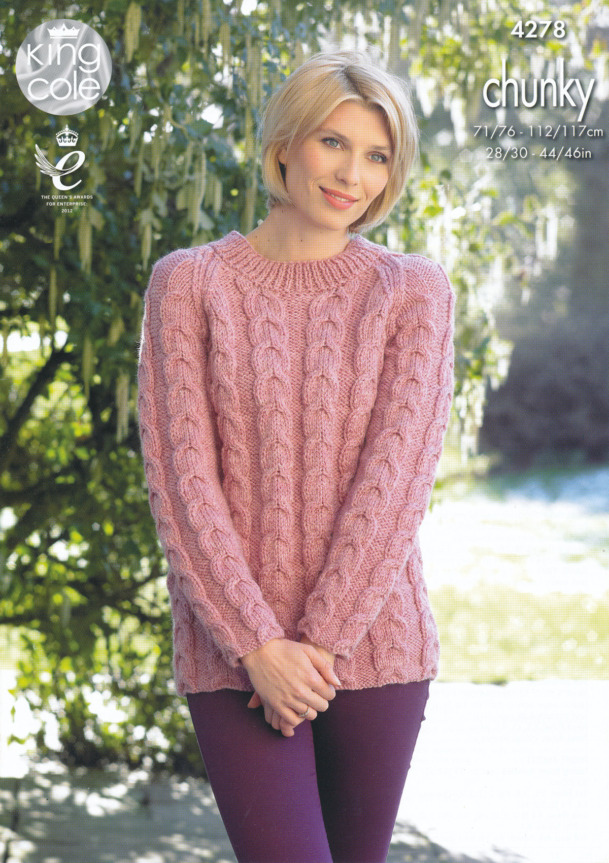 Knitting Pattern Ladies Cable Jumper : Womens Chunky Knitting Pattern King Cole Ladies Cable Knit ...