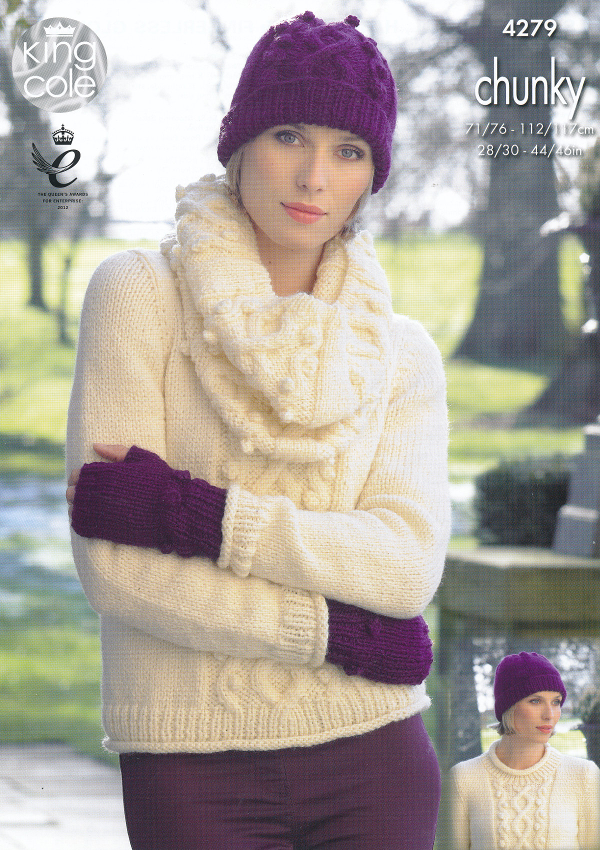 Womens Chunky Knitting Pattern King Cole Jumper Hat Scarf Fingerless Gloves 4...