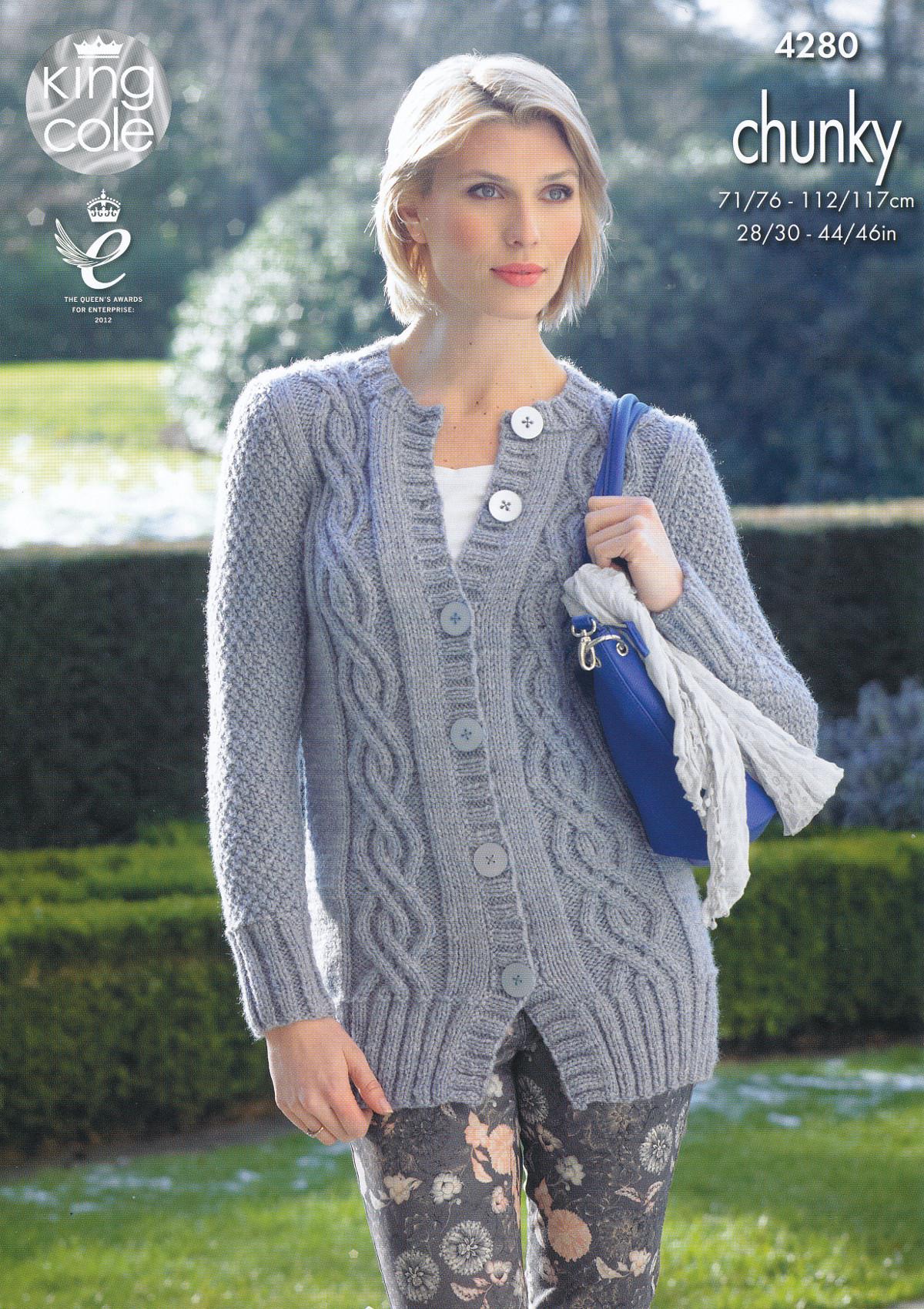 King Cole Ladies Cardigan Knitting Pattern : Womens Chunky Knitting Pattern King Cole Ladies Cable Knit Cardigan Jacket 42...