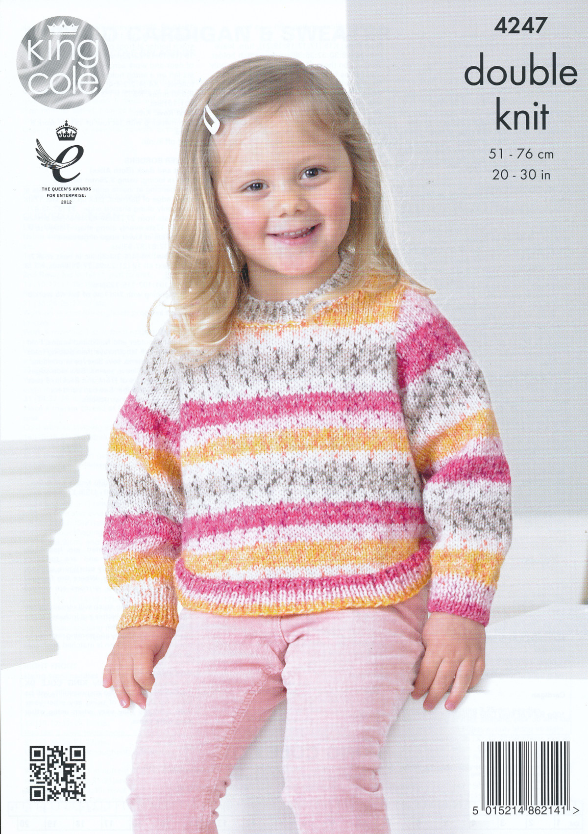 King Cole Splash Double Knitting Pattern Girls Curved Hem Cardigan Sweater 42...