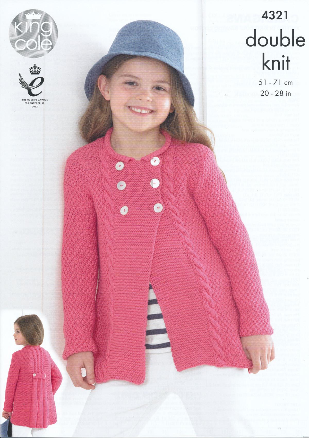 Kids Double Knitting Pattern King Cole Girls Cardigans Bamboo Cotton DK 4321