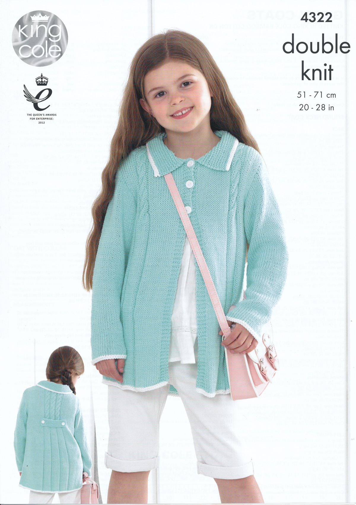 Knitting Patterns For King Cole Bamboo Cotton : Childrens Double Knitting Pattern King Cole Girls Coats Bamboo Cotton DK 4322...