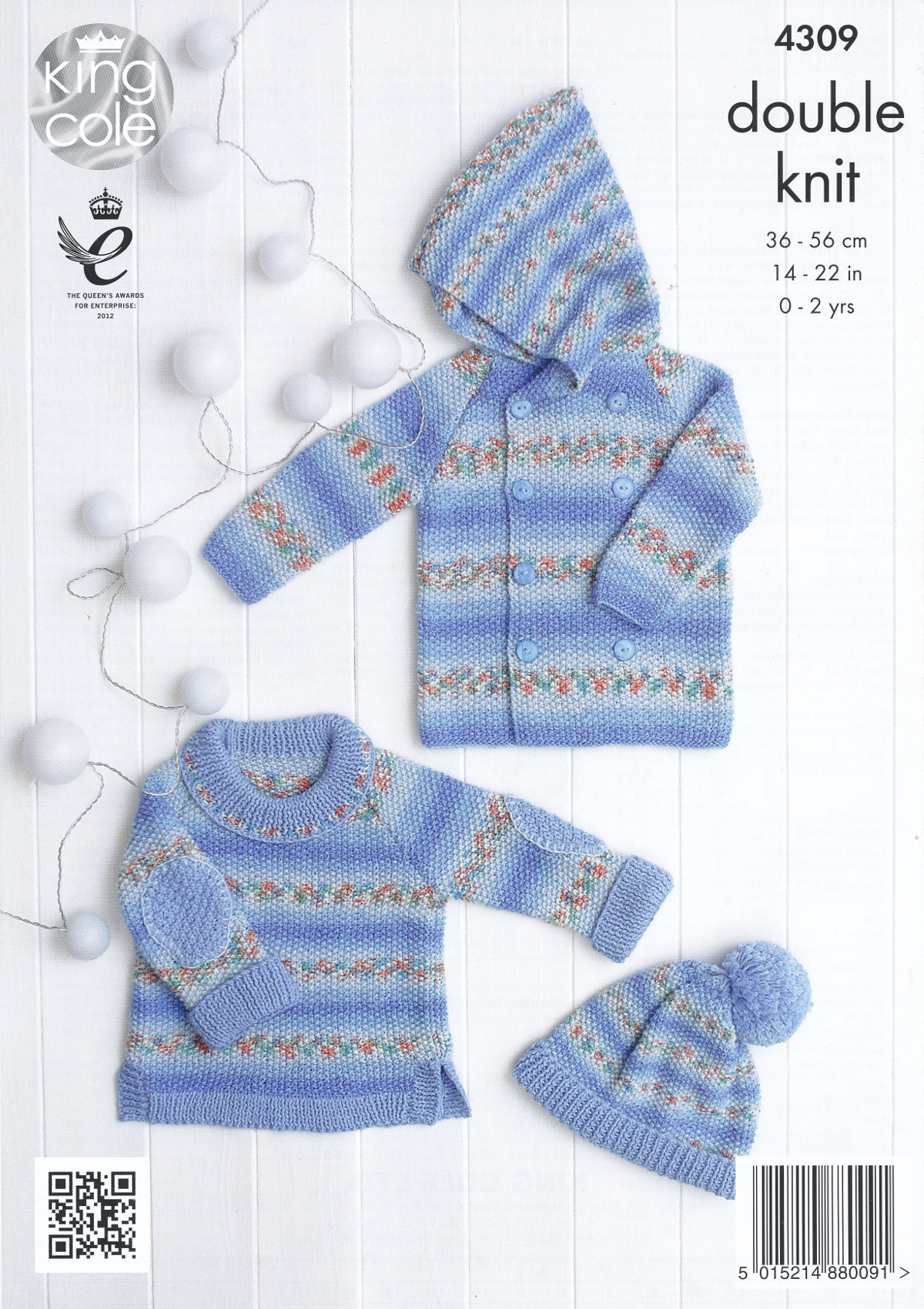 Double Knitting Hat Pattern : King Cole Double Knitting Pattern Sweater Jacket & Hat Set Baby Drifter D...