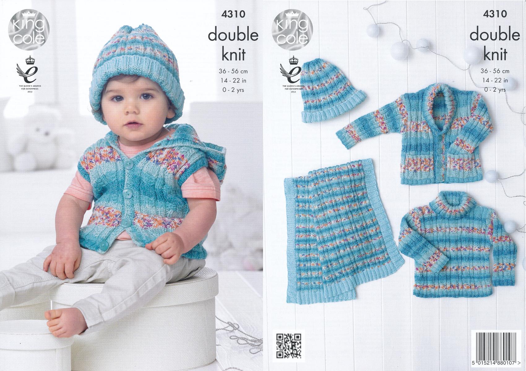 Baby Drifter DK Knitting Pattern King Cole Jumper Waistcoat Jacket Blanket 4310