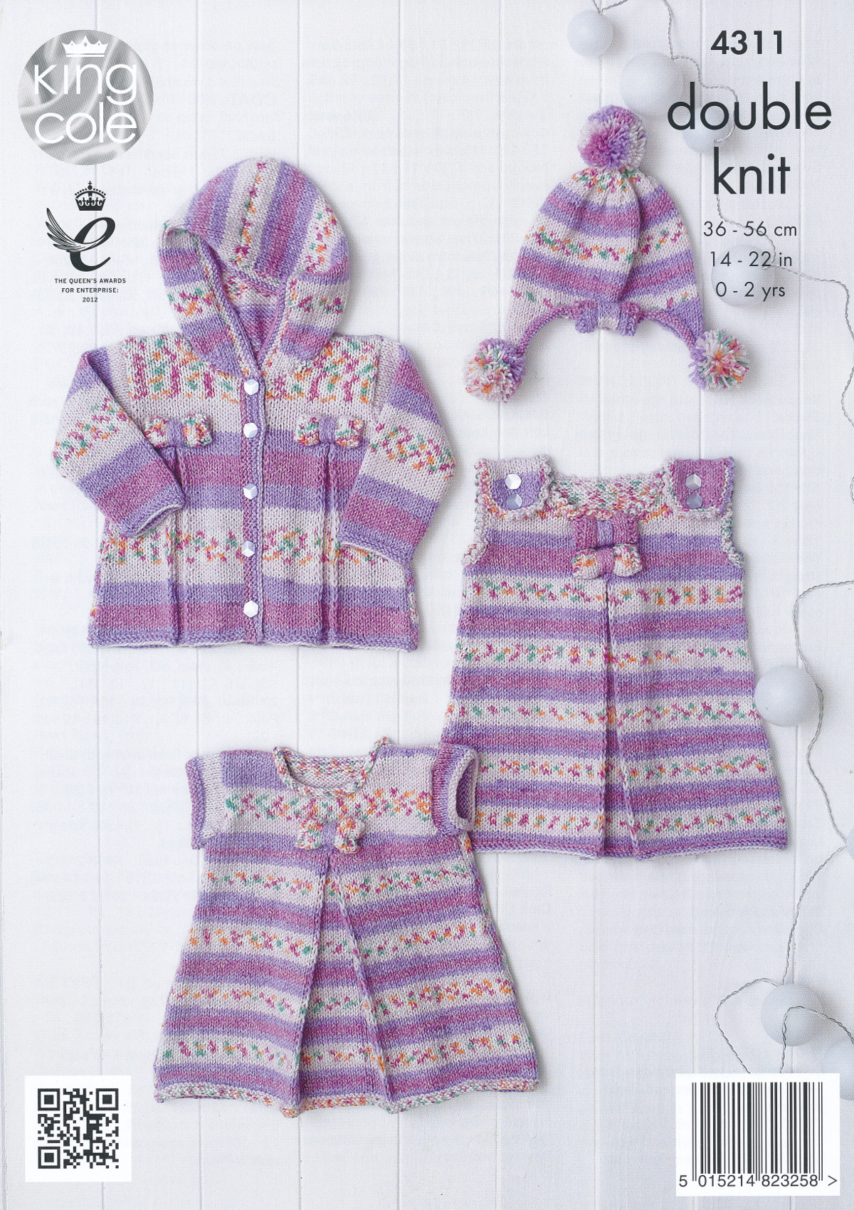 Knitting Patterns For Babies Double Knitting : King Cole Double Knitting Pattern Dress Tunic Coat Hat Set Baby Drifter DK 43...