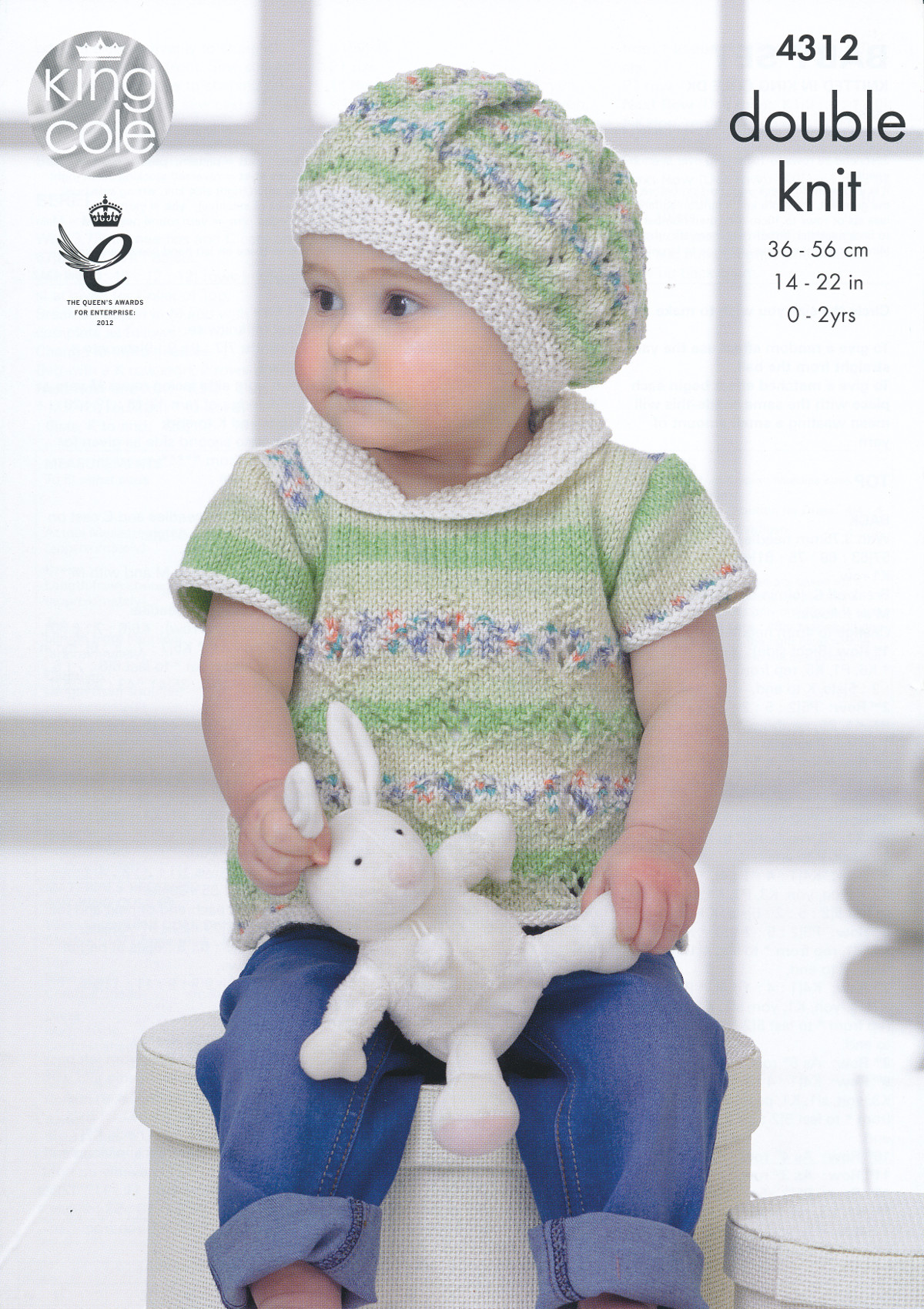 Baby Double Knitting Patterns : King Cole Double Knitting Pattern Lace Effect Top Dress Cardigan Beret Set 43...