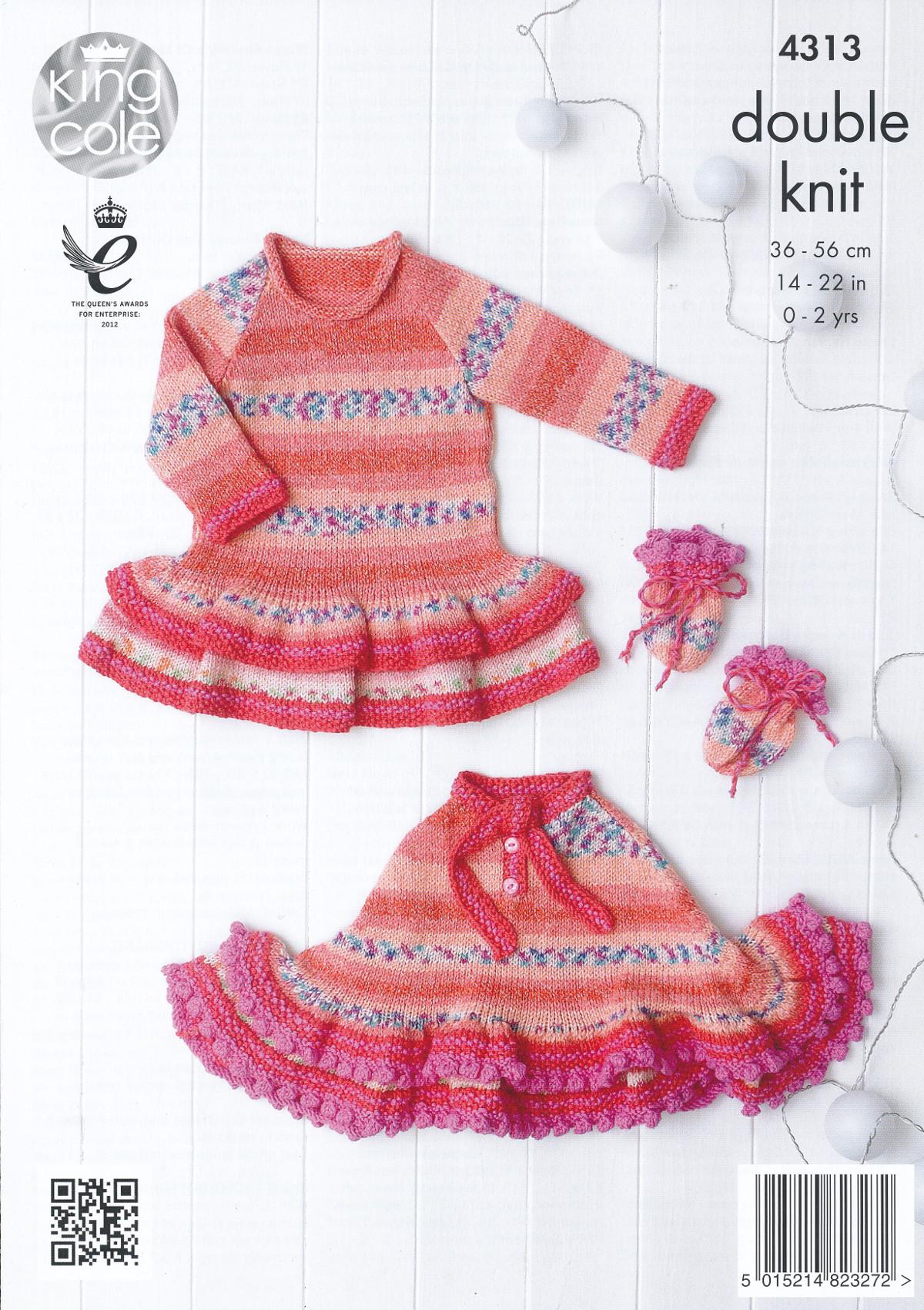 Double Knitting Hoodie Pattern : Baby Drifter DK Knitting Pattern King Cole Hoodie Dress ...