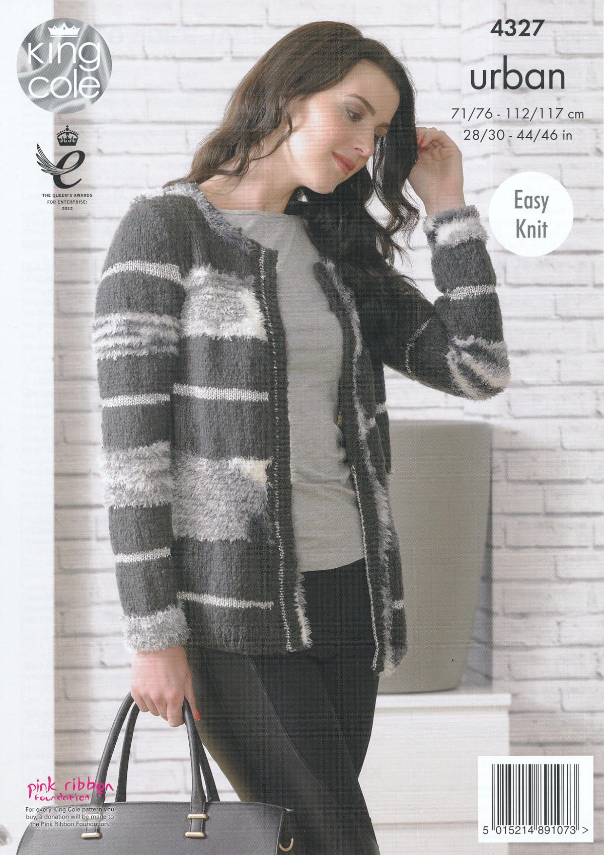 King Cole Urban Knitting Pattern Ladies Womens Easy Knit Long Sleeve Jacket 4...
