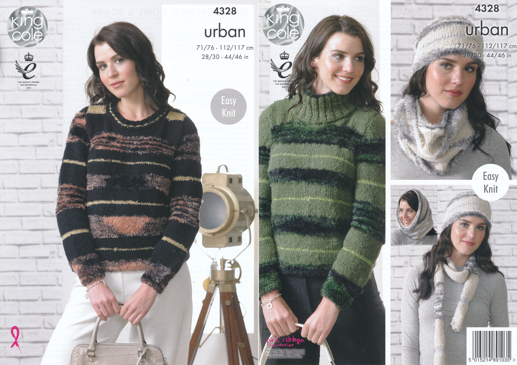King Cole Knitting Pattern 3318 : King Cole Urban Knitting Pattern Ladies Easy Knit Sweaters Hat Cowl Scarf 432...