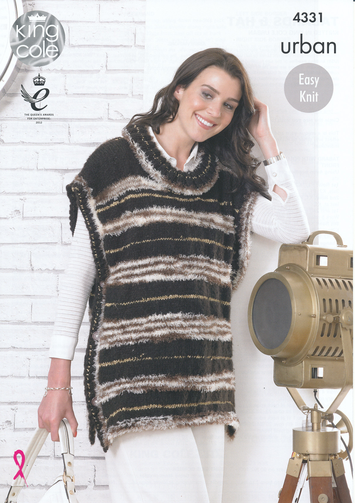 Womens Knitting Pattern King Cole Urban Easy Knit Cap Sleeve Tabards & Ha...