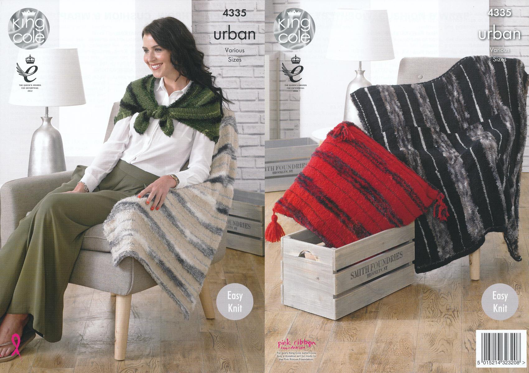 King Cole Urban Knitting Pattern Throw Blankets Cushion & Wrap Easy Knit ...
