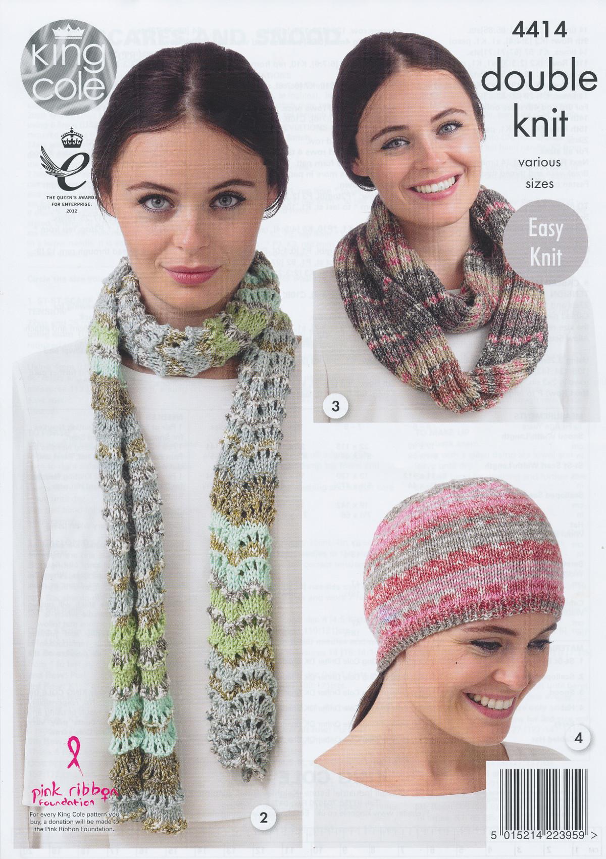 Snood Knitting Pattern Double Knit : King Cole Ladies Double Knit Pattern Womens Hat Scarves Snood Drifter DK 4414...