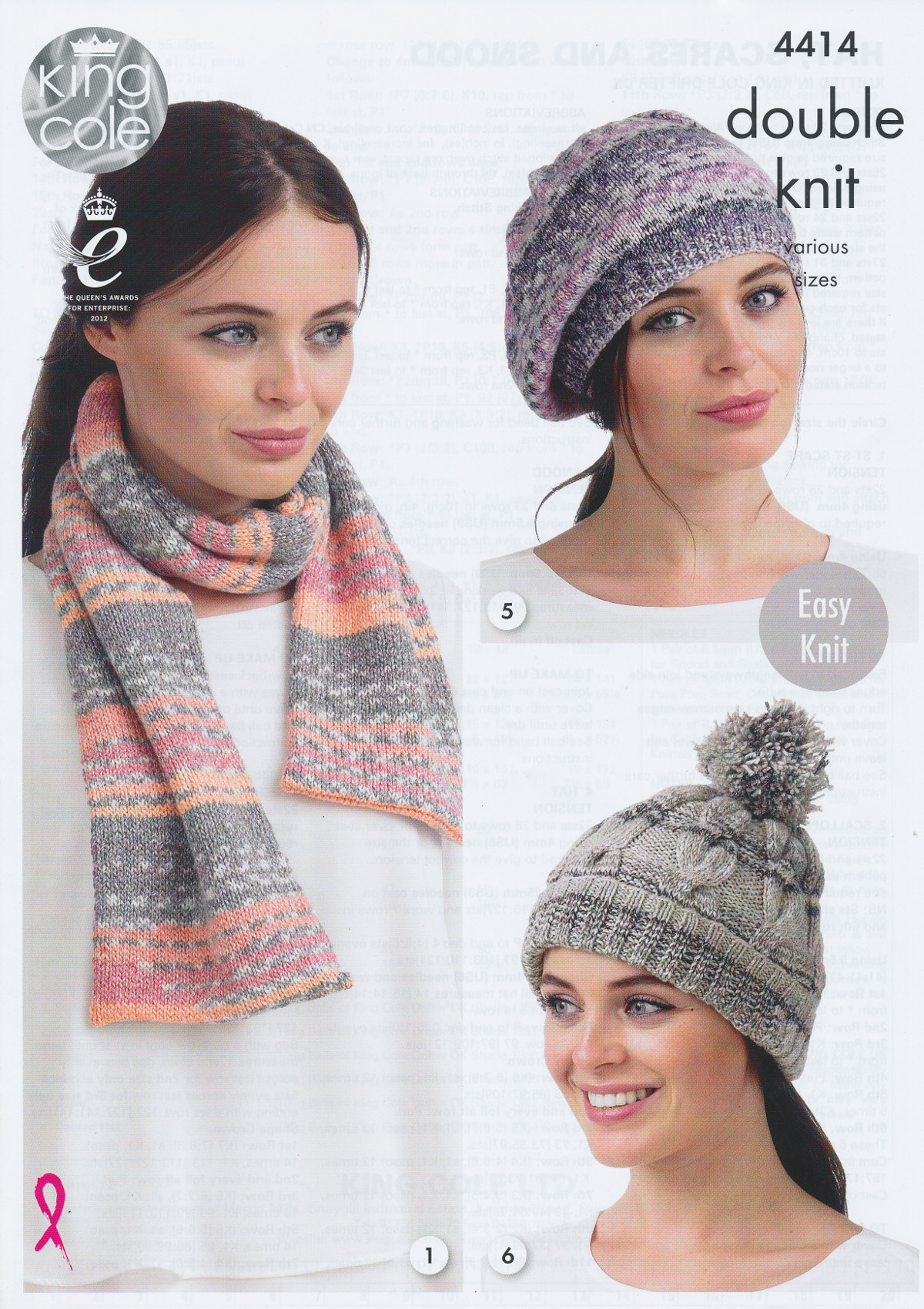 Ladies Double Knitting Pattern King Cole Womens Accessories Hat Scarf Snood 4...