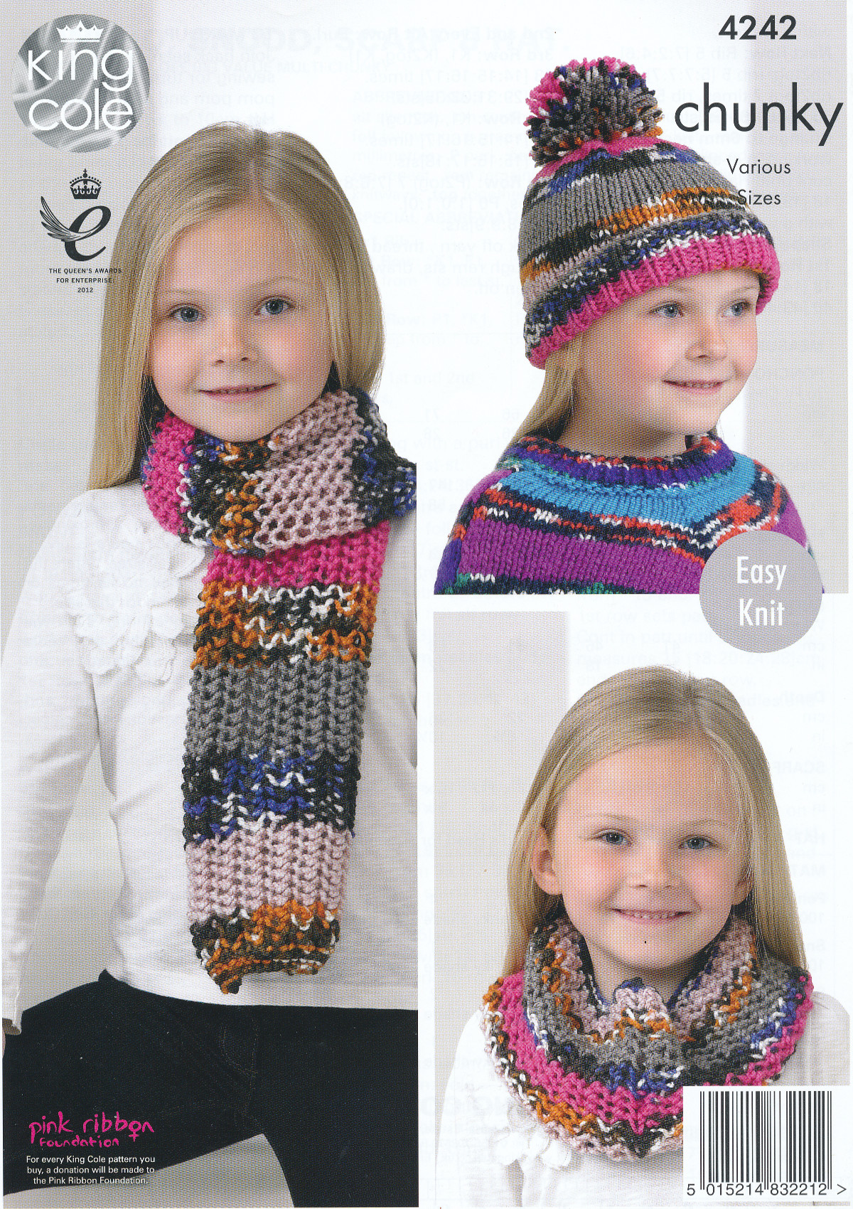 Girls Chunky Knitting Pattern King Cole Easy Knit Poncho Scarf Snood & Ha...