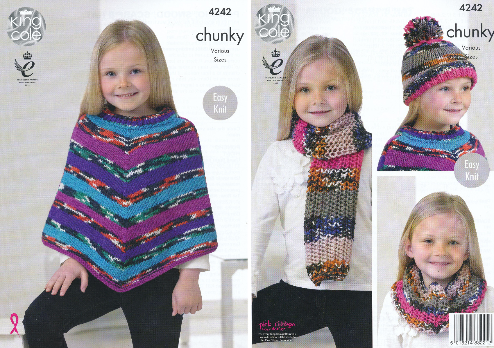 King Cole Poncho Knitting Pattern : King Cole Girls Chunky Knitting Pattern Easy Knit Poncho Snood Scarf & Ha...