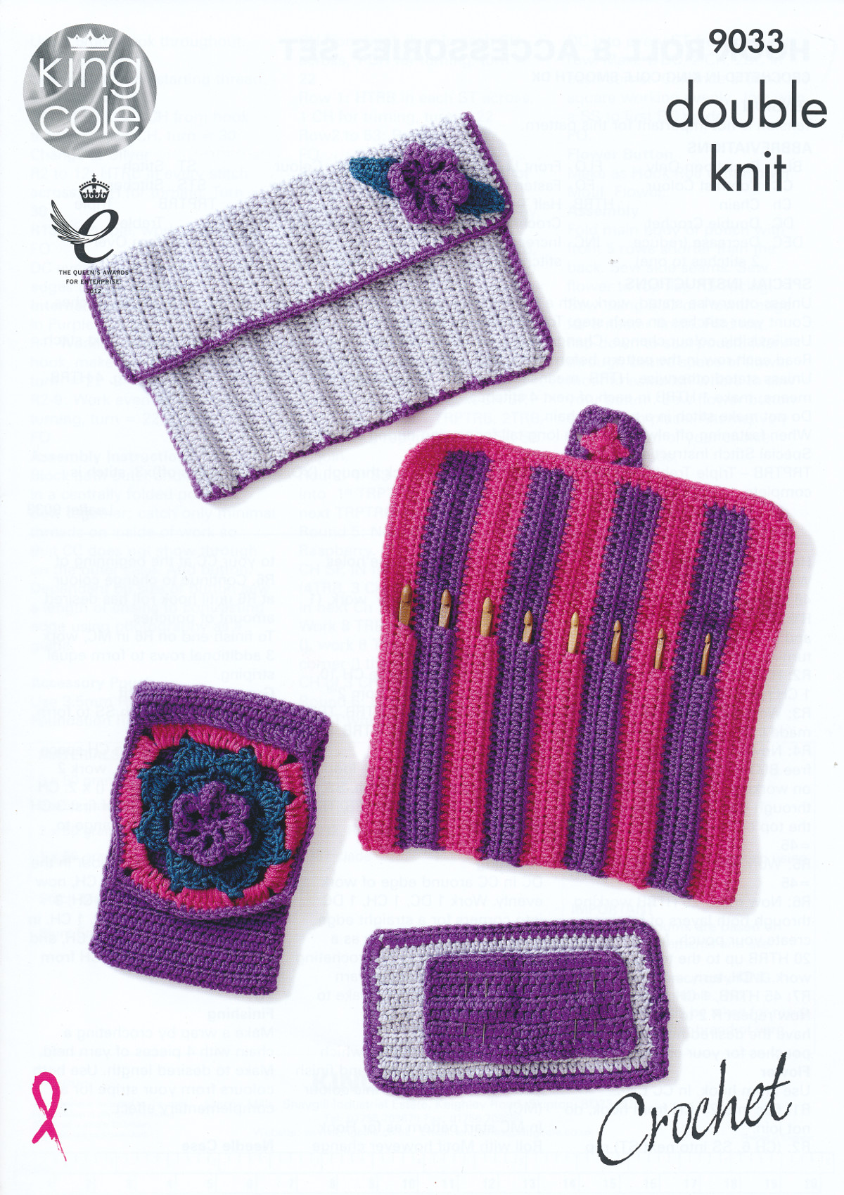 King Cole Double Knit Crochet Pattern Hook Roll Needle Case Accessory Pouch 9...