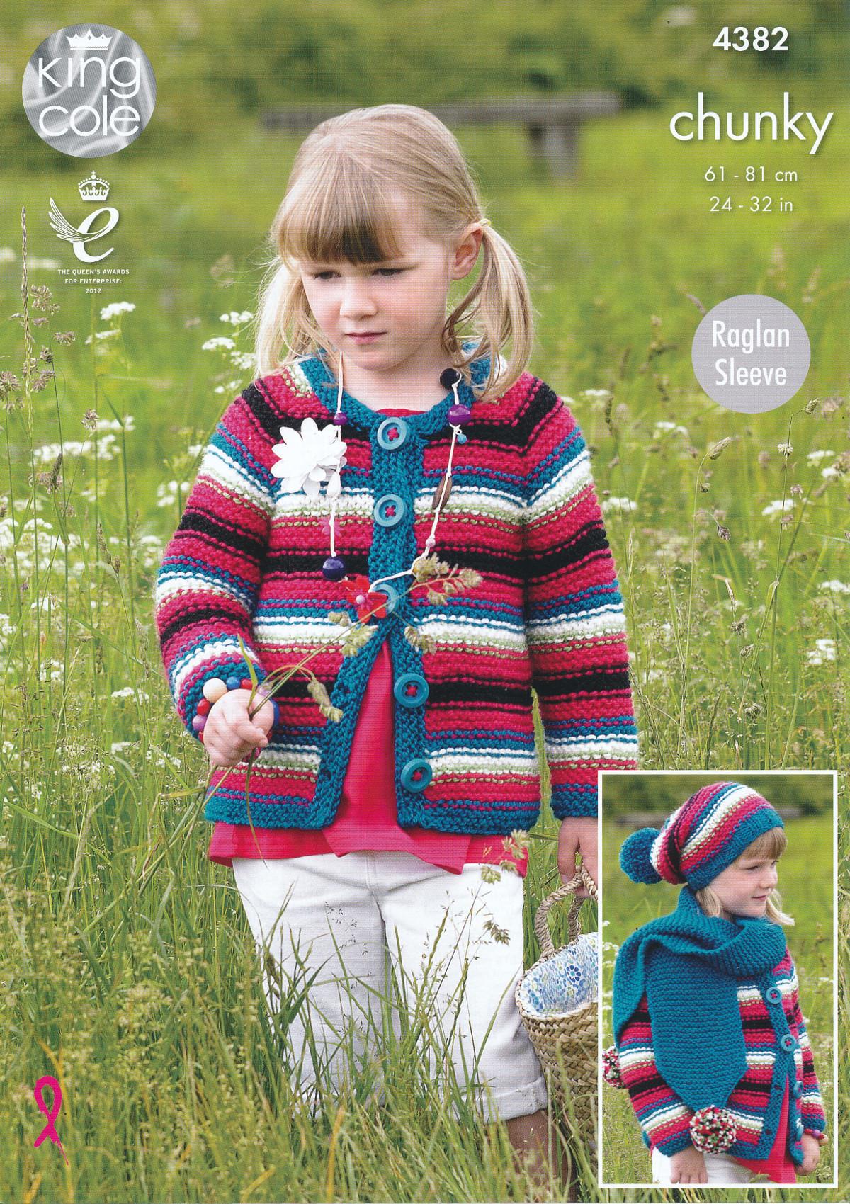 King Cole Knitting Pattern 3318 : Chunky Knitting Pattern King Cole Raglan Sleeve Cardigan Dress Hat Scarf 4382...