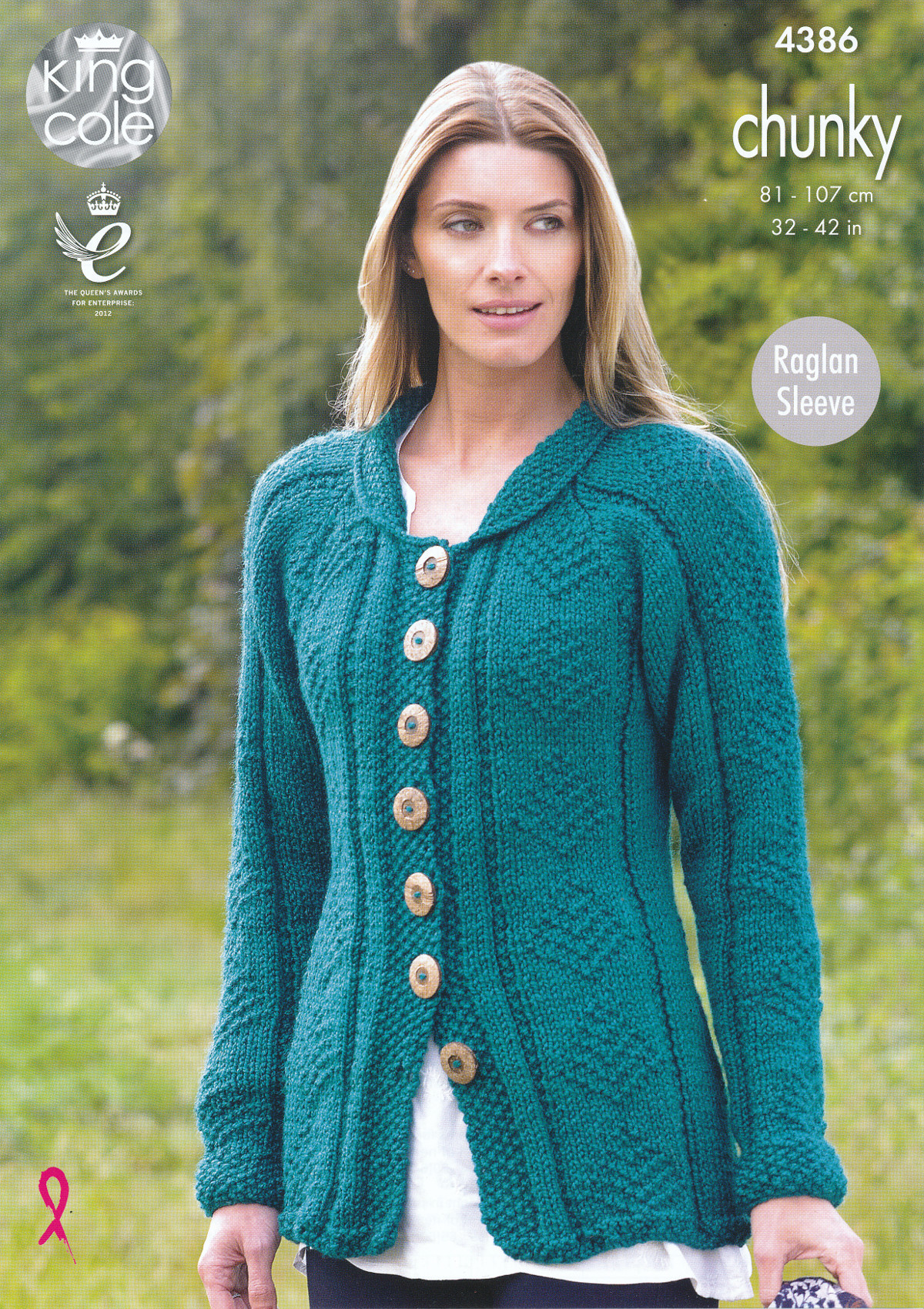 Women s Cardigan Knitting Pattern : Ladies Chunky Knitting Pattern King Cole Womens Raglan Sleeve Cardigan Coat 4...