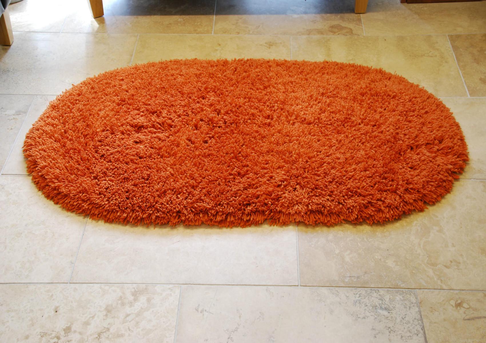 Rainbow Washable Contemporary Oval Floor Rug Shaggy Pile