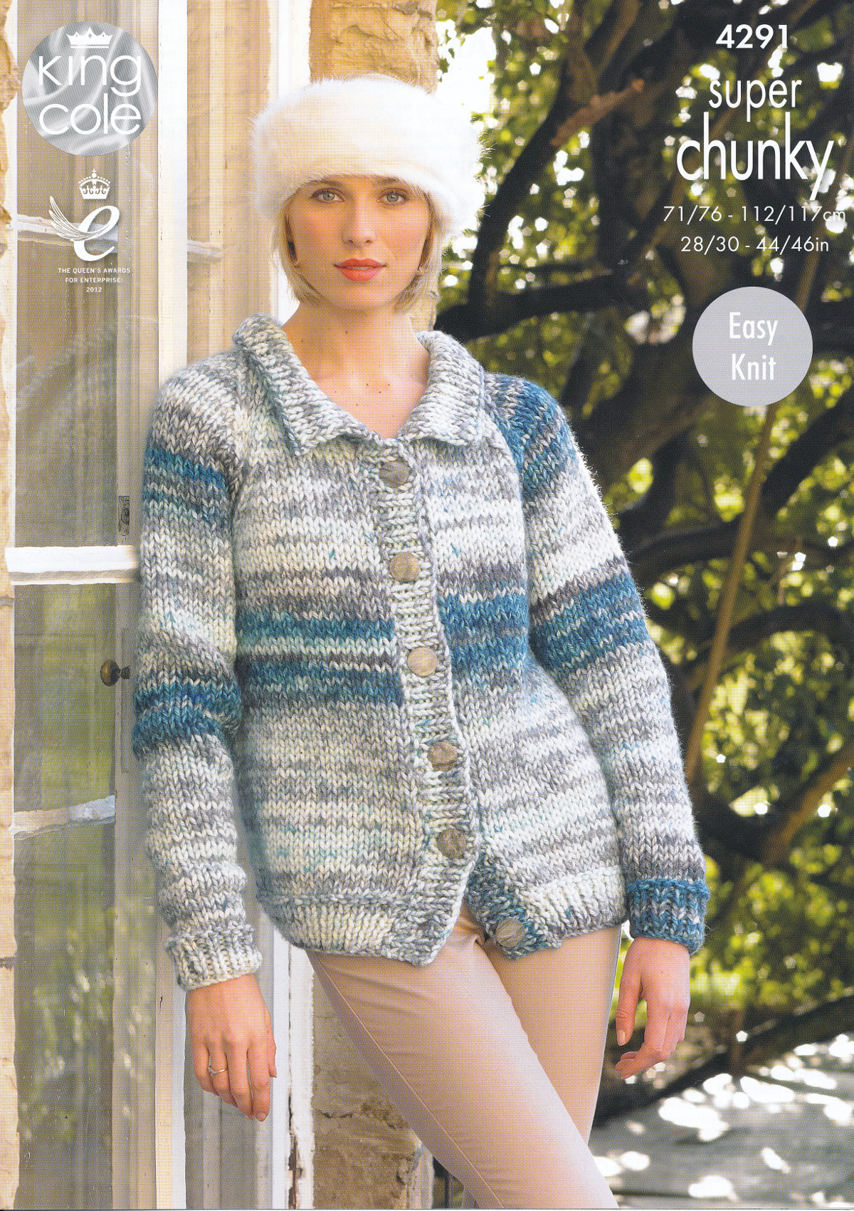 Super Chunky Jumper Knitting Pattern : Ladies Super Chunky Knitting Pattern King Cole Polo Neck Jumper Cardigan 4291...