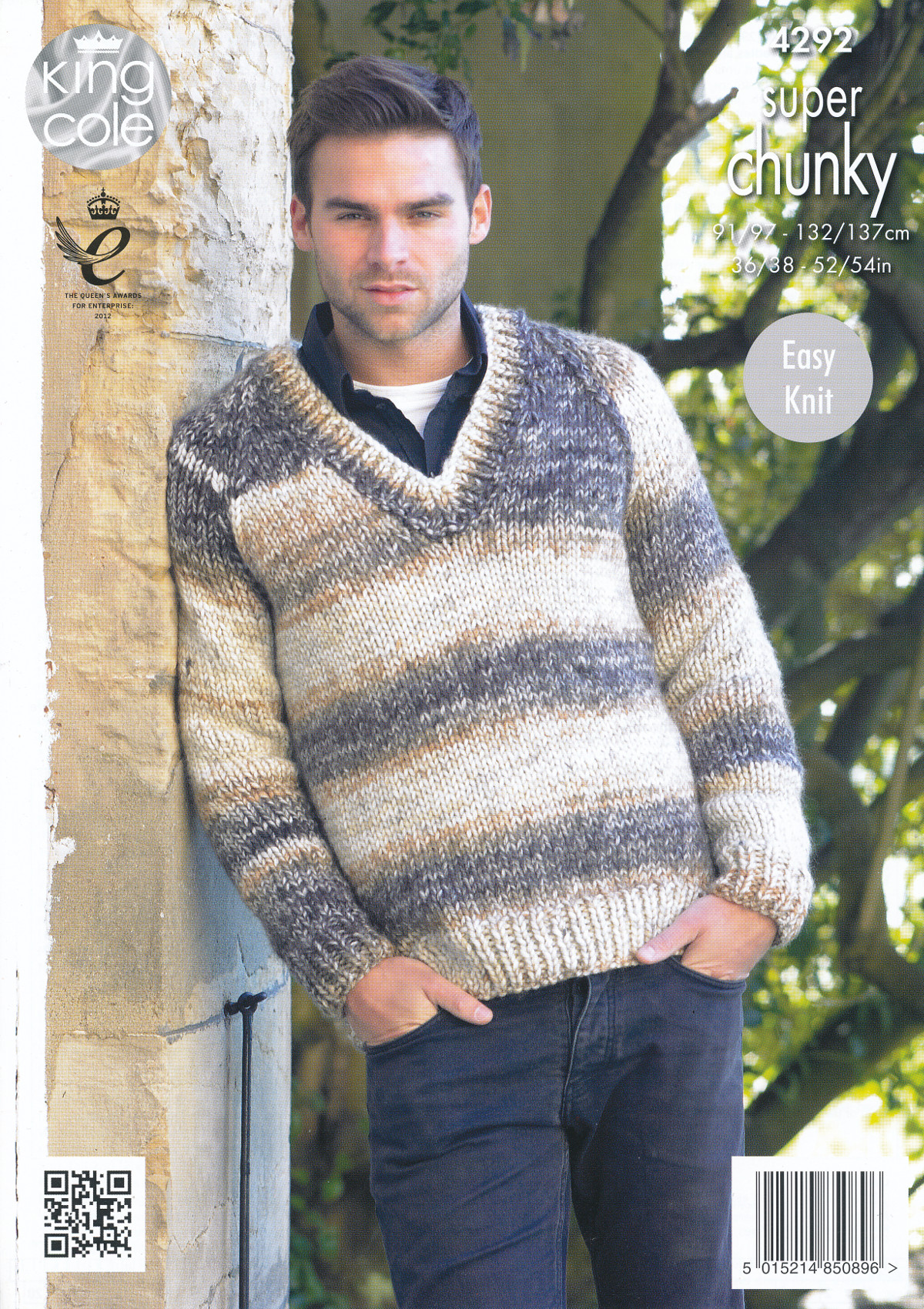 King Cole Mens Super Chunky Knitting Pattern V Neck Sweater & Cardigan 42...