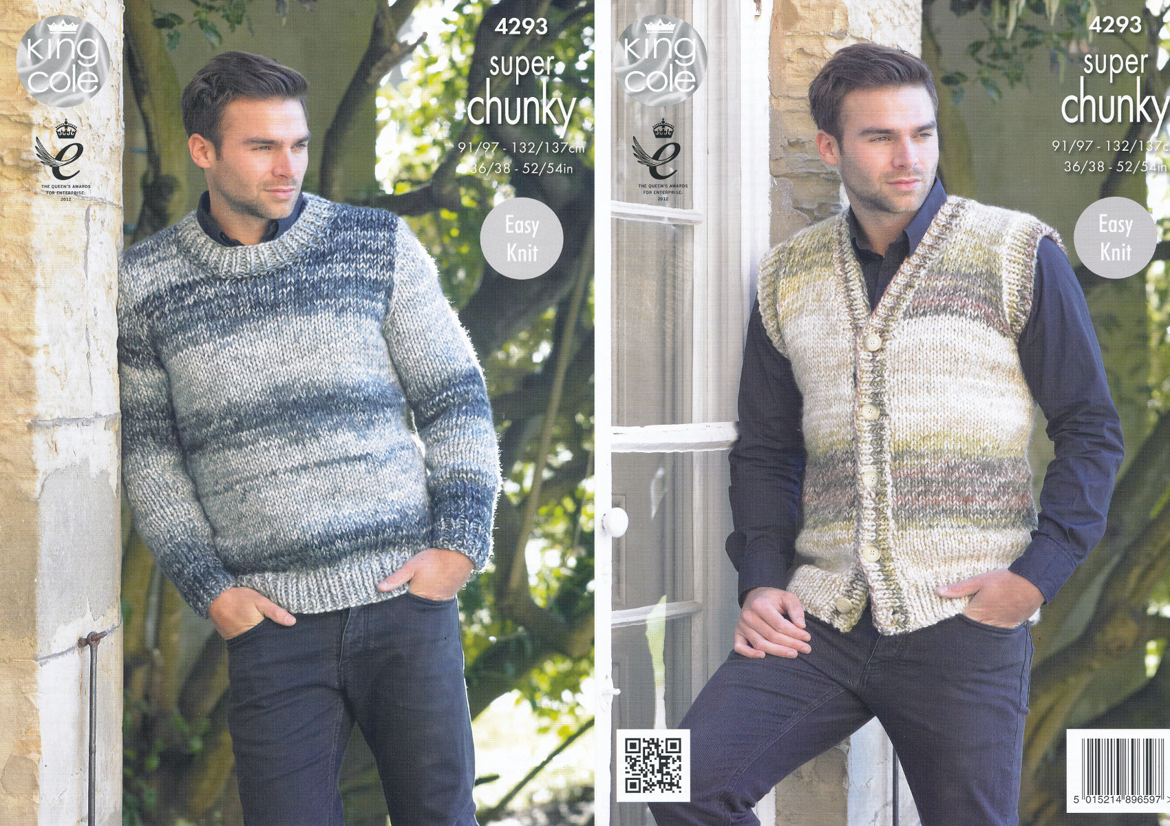 King Cole Mens Super Chunky Knitting Pattern Easy Knit Jumper & Waistcoat...
