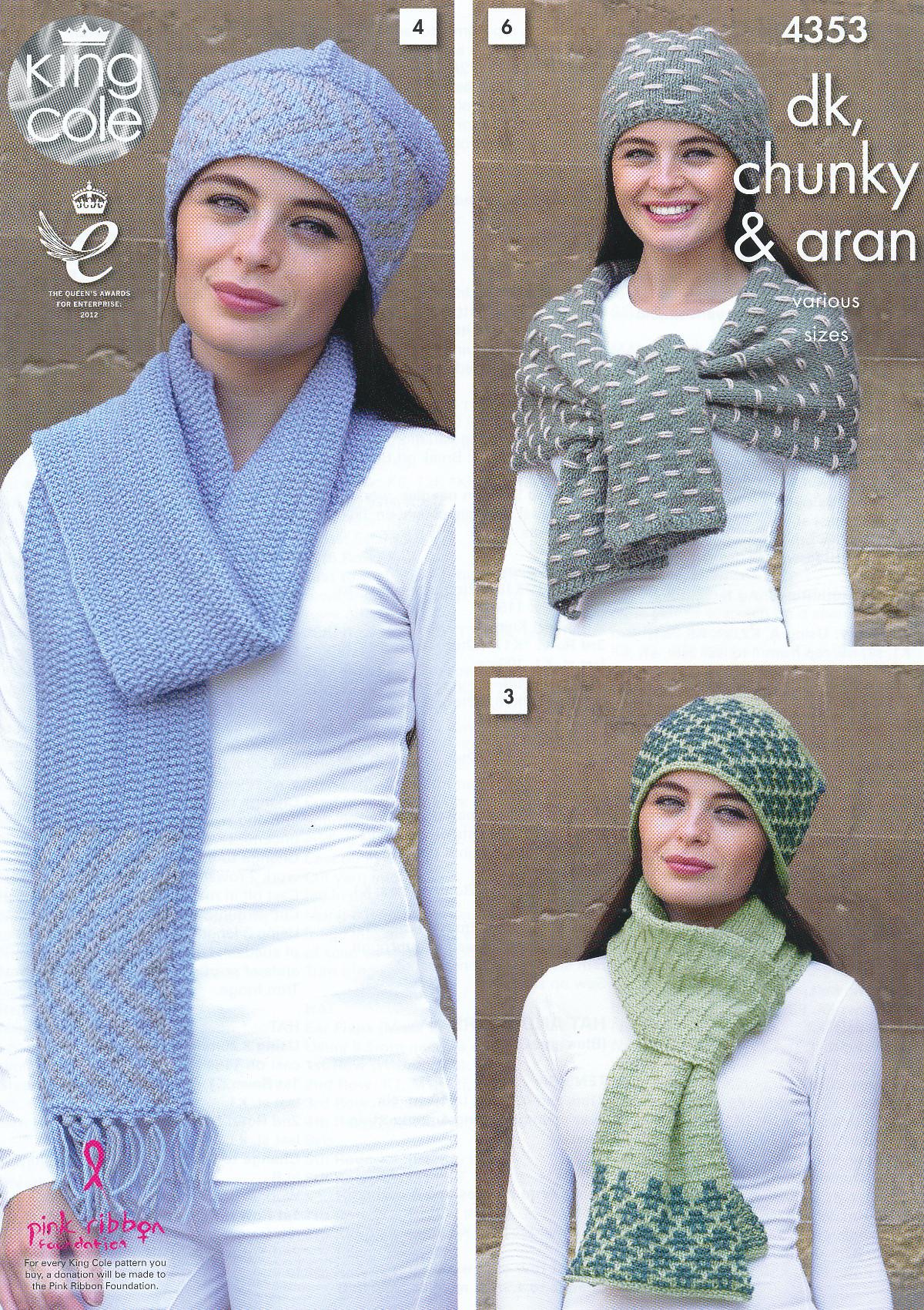 Ladies DK Chunky Aran Knitting Pattern King Cole Womens Winter Accessories 43...
