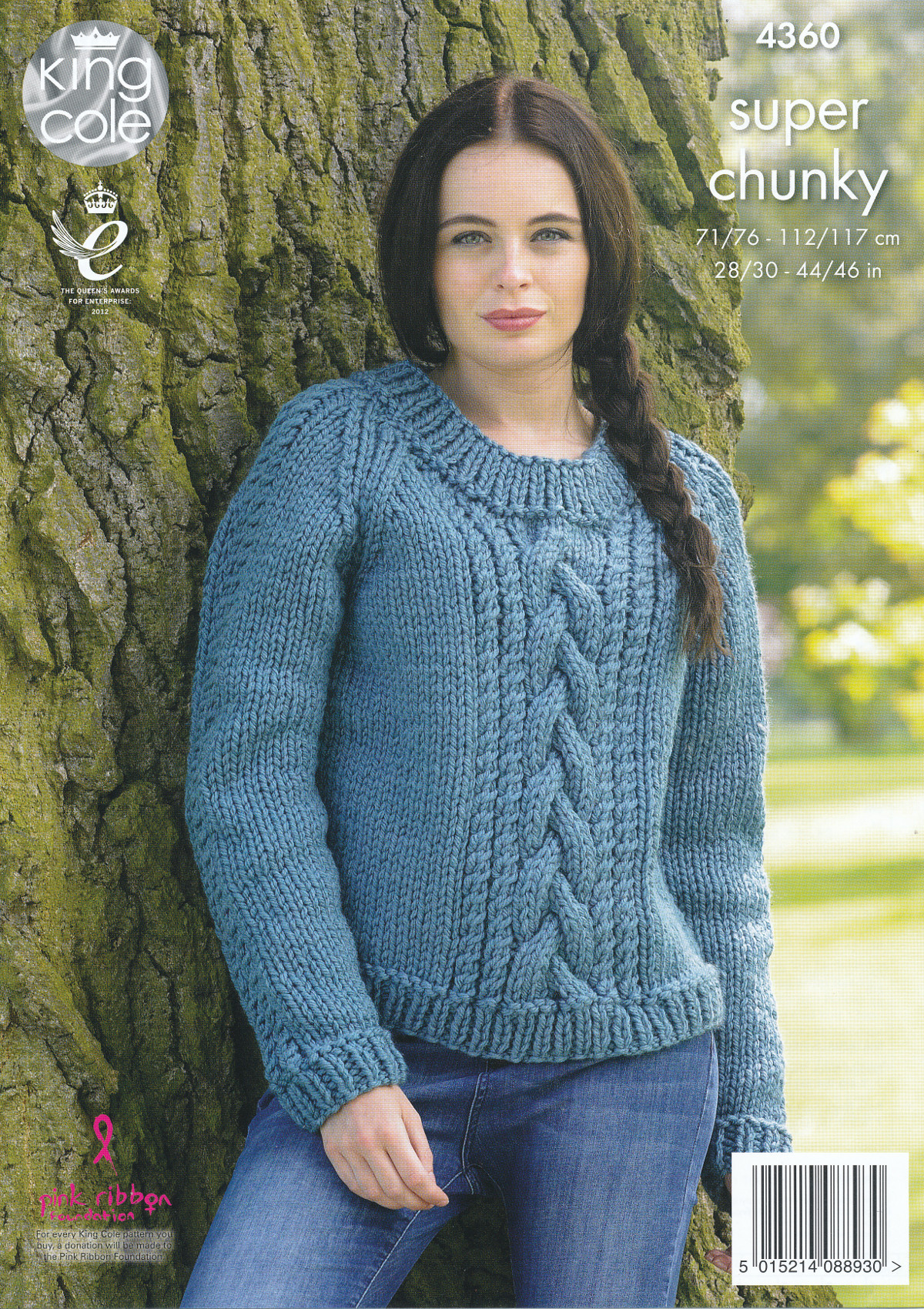 Knitting In The Round Sweater Patterns Free : Ladies Super Chunky Knitting Pattern King Cole Cable Knit Sweaters Jumpers 43...