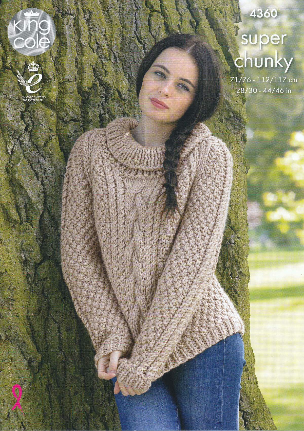 Ladies Super Chunky Knitting Pattern King Cole Cable Knit Sweaters Jumpers 43...