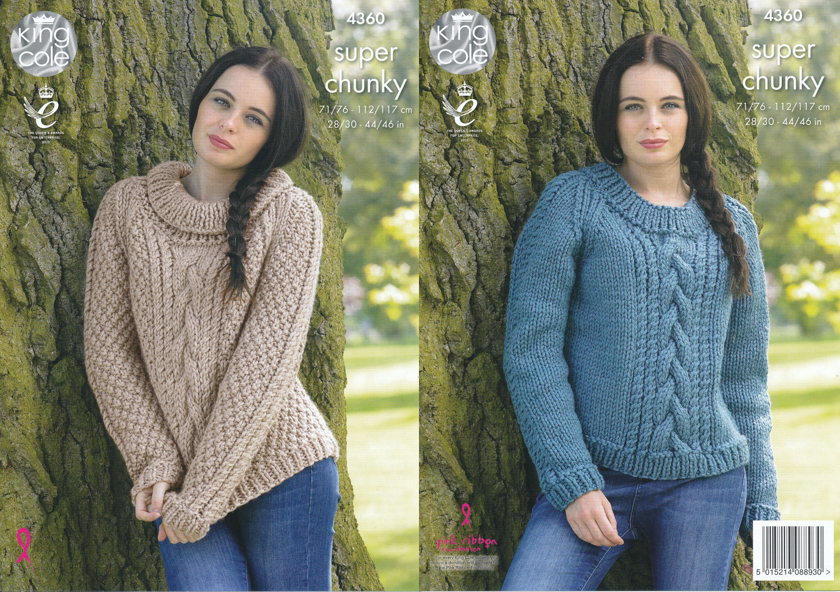 Chunky Knit Jumper Pattern : Ladies Super Chunky Knitting Pattern King Cole Cable Knit Sweaters Jumpers 43...