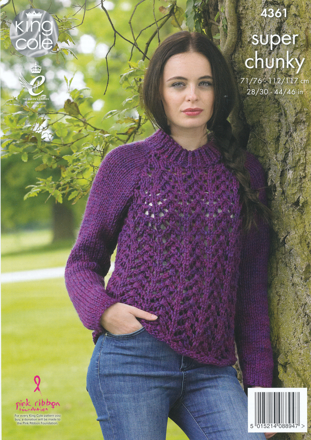King Cole Knitting Pattern 3318 : Lace Effect Sweater Cardigan Knitting Pattern King Cole Ladies Super Chunky 4...