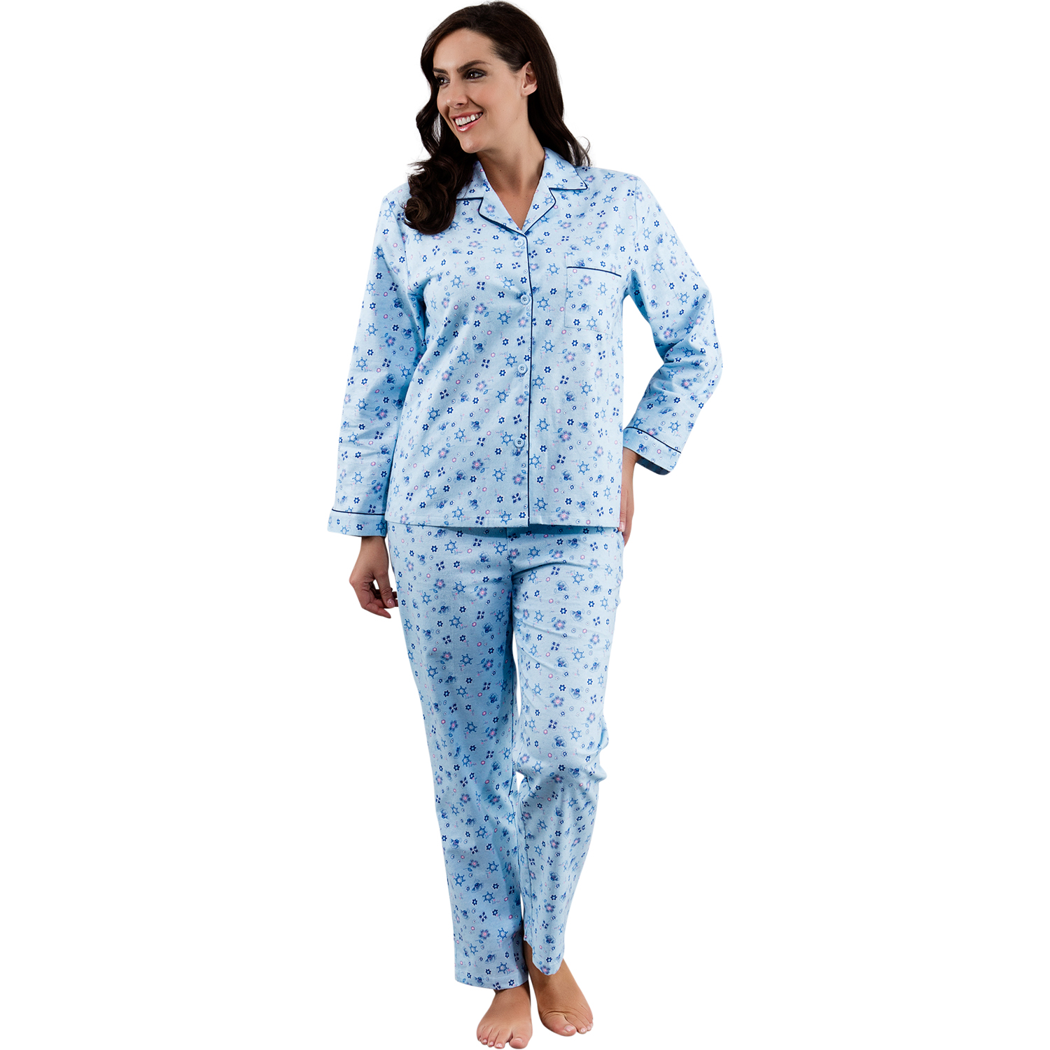 Women's Pyjamas. Elegant jersey, rich cottons, luxurious lace trim, ladylike palazzos, cute cropped pants and shorts sets - this season lazing around in pyjamas will be anything but a sloppy affair.
