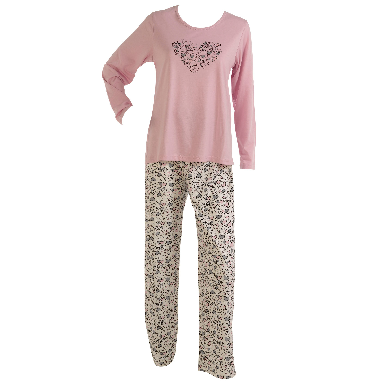 love heart print ladies pjs set slenderella gaspe