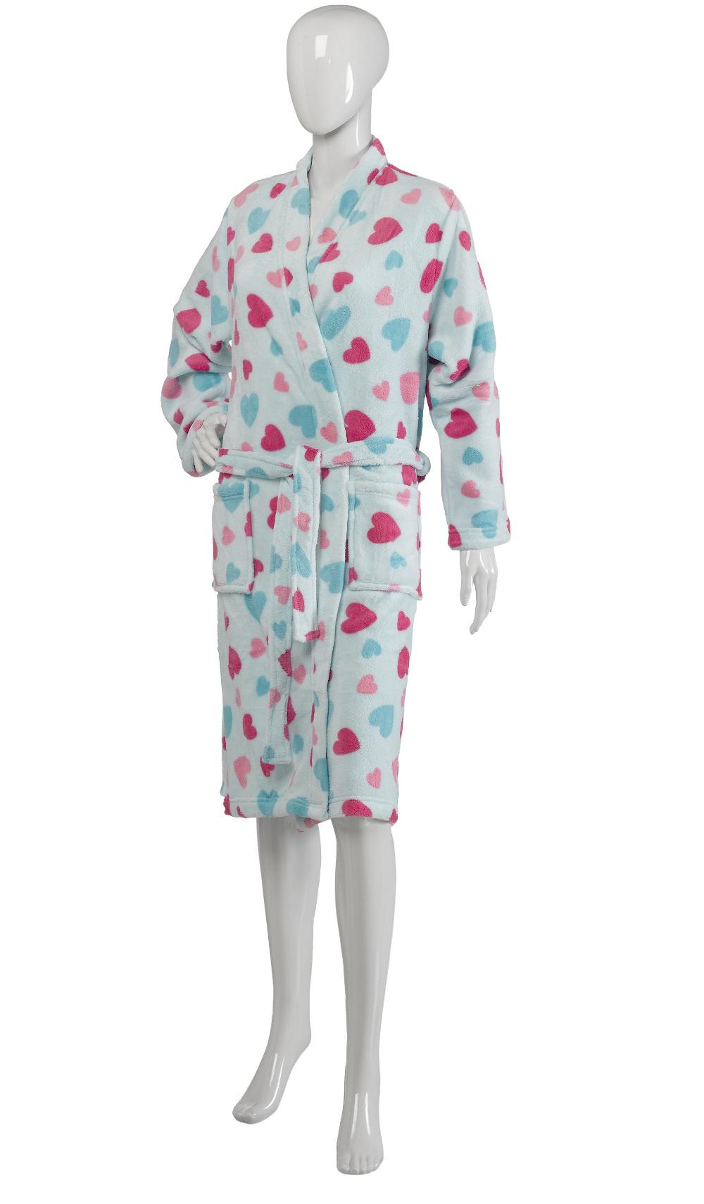 Slenderella Ladies Hearts or Star Design Bath Robes Soft Fleece Dressing Gown