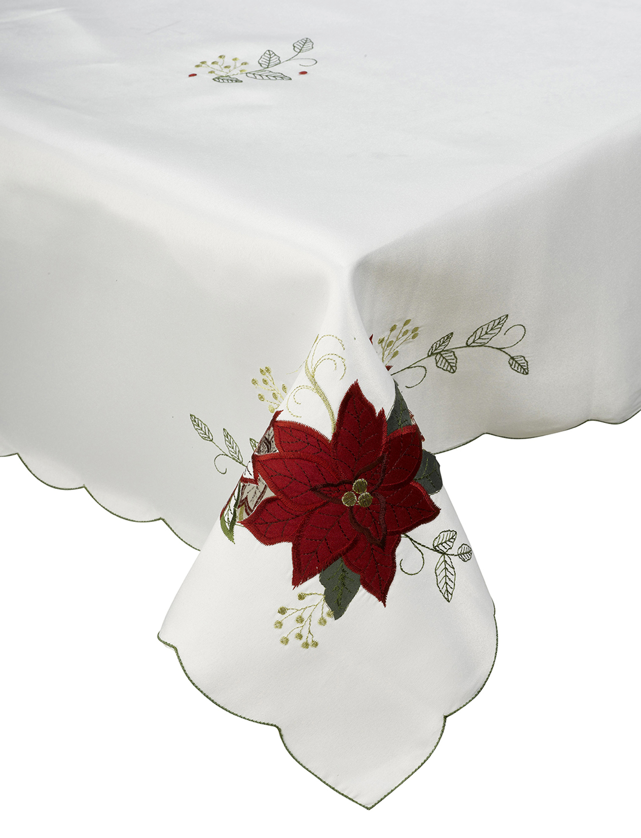 Xmas Table Linen Part - 24: Floral-Embroidered-Christmas-Tablecloth-Festive-Xmas-Table-Linen-