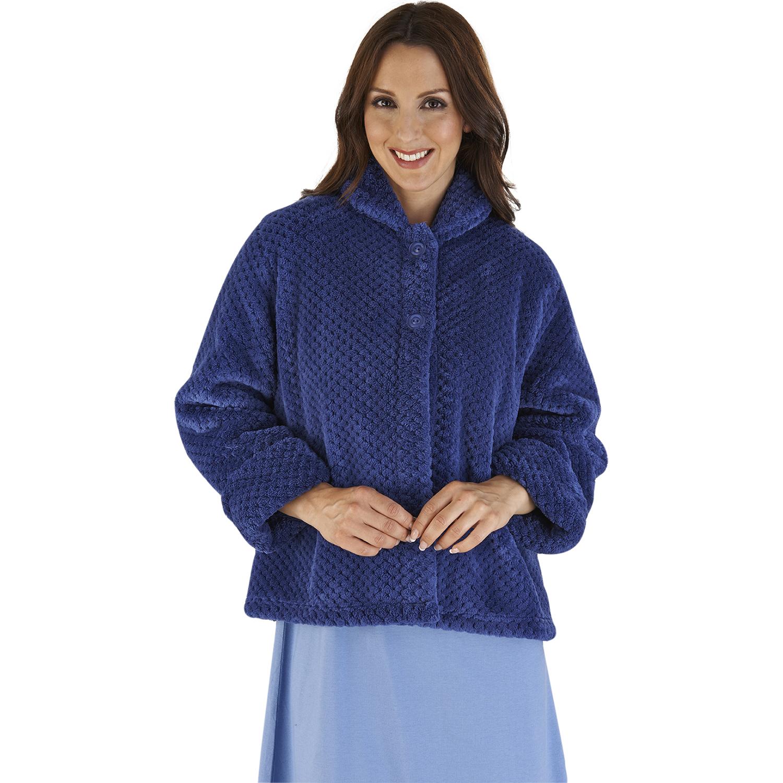 Womens Soft Waffle Fleece Bed Jacket Slenderella Luxury Button Up ...