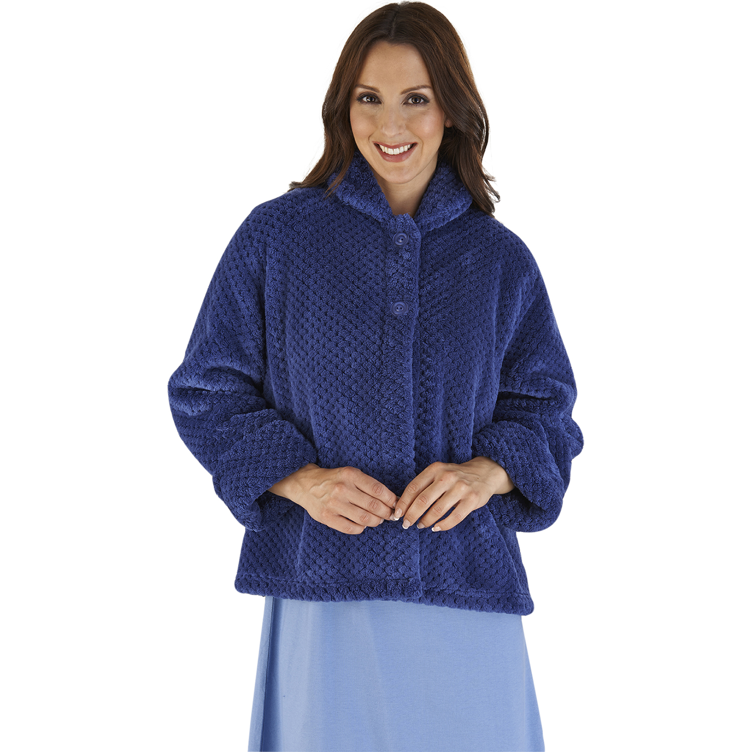Stunning Flannel Fleece Ladies Bed Jacket. This jacket is made from a beautiful soft, velvet-like flannel fleece luxury fabric. % Luxury Flannel Fleece. I ntricate Embossed pattern throughout, whic Camille Womens Nightwear Ivory Supersoft Fleece Button Up Bed Jacket Pyjama Top.