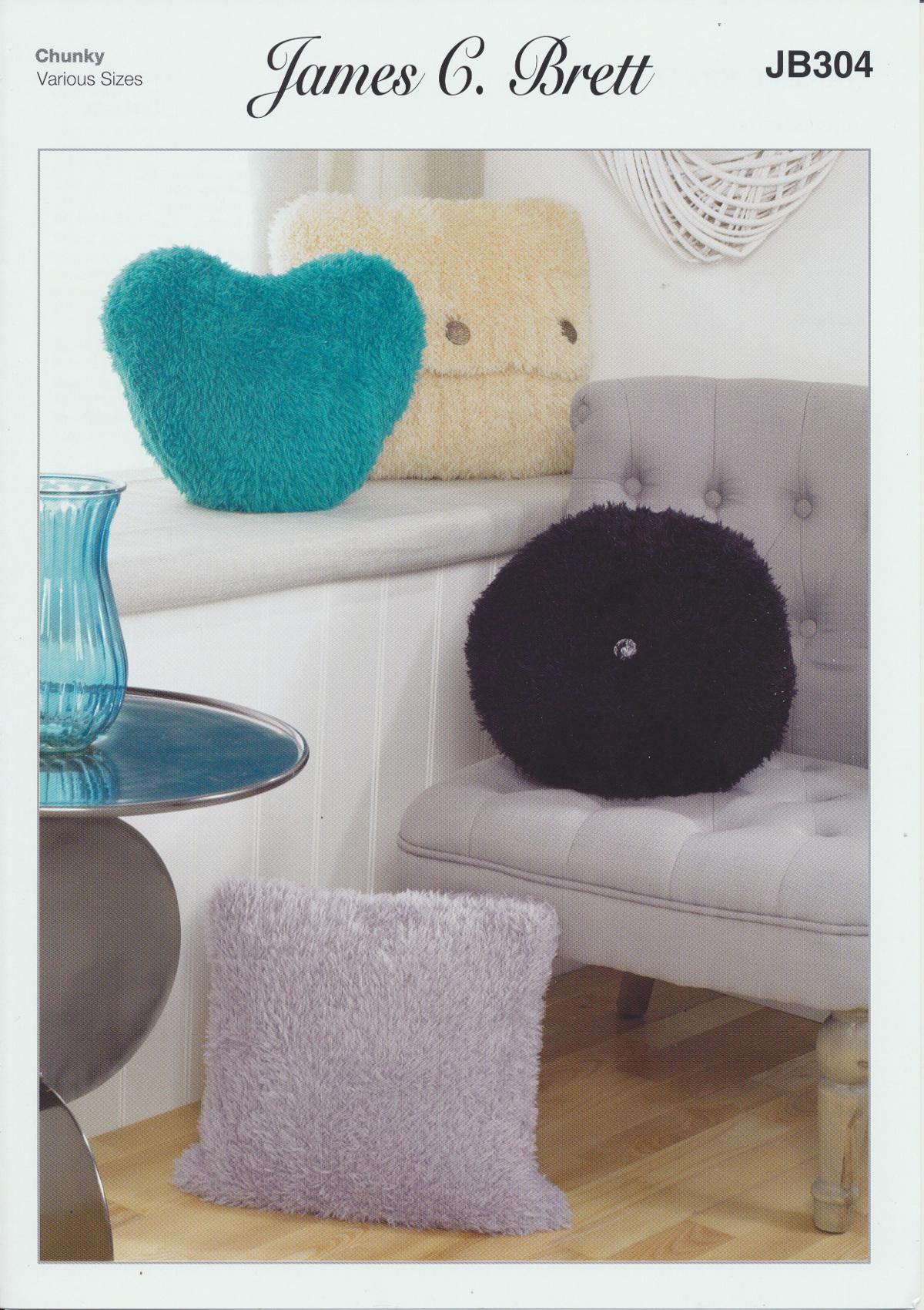 James Brett Chunky Knitting Pattern Square & Round Heart Cushion Covers J...
