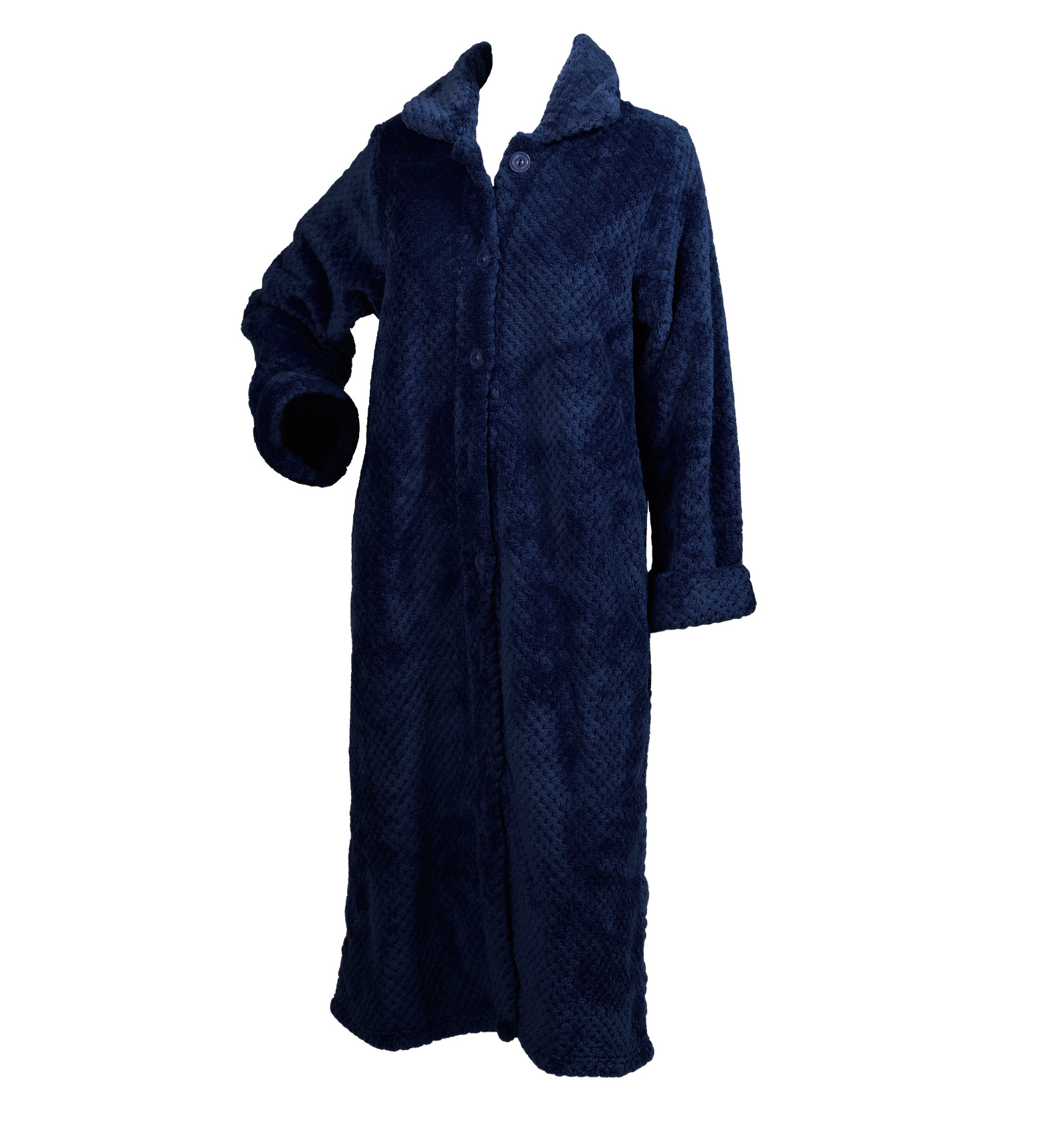 Slenderella Ladies Soft Waffle Fleece Dressing Gown Button Zip Wrap ...