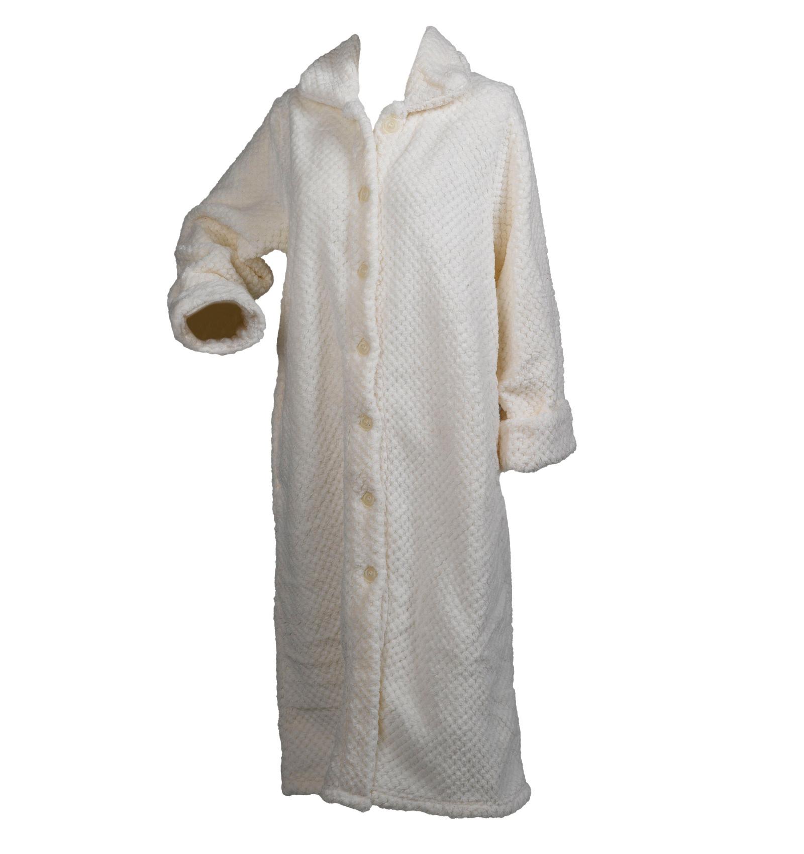 Slenderella Ladies Soft Waffle Fleece Dressing Gown Button Zip Wrap ... 72b2839df