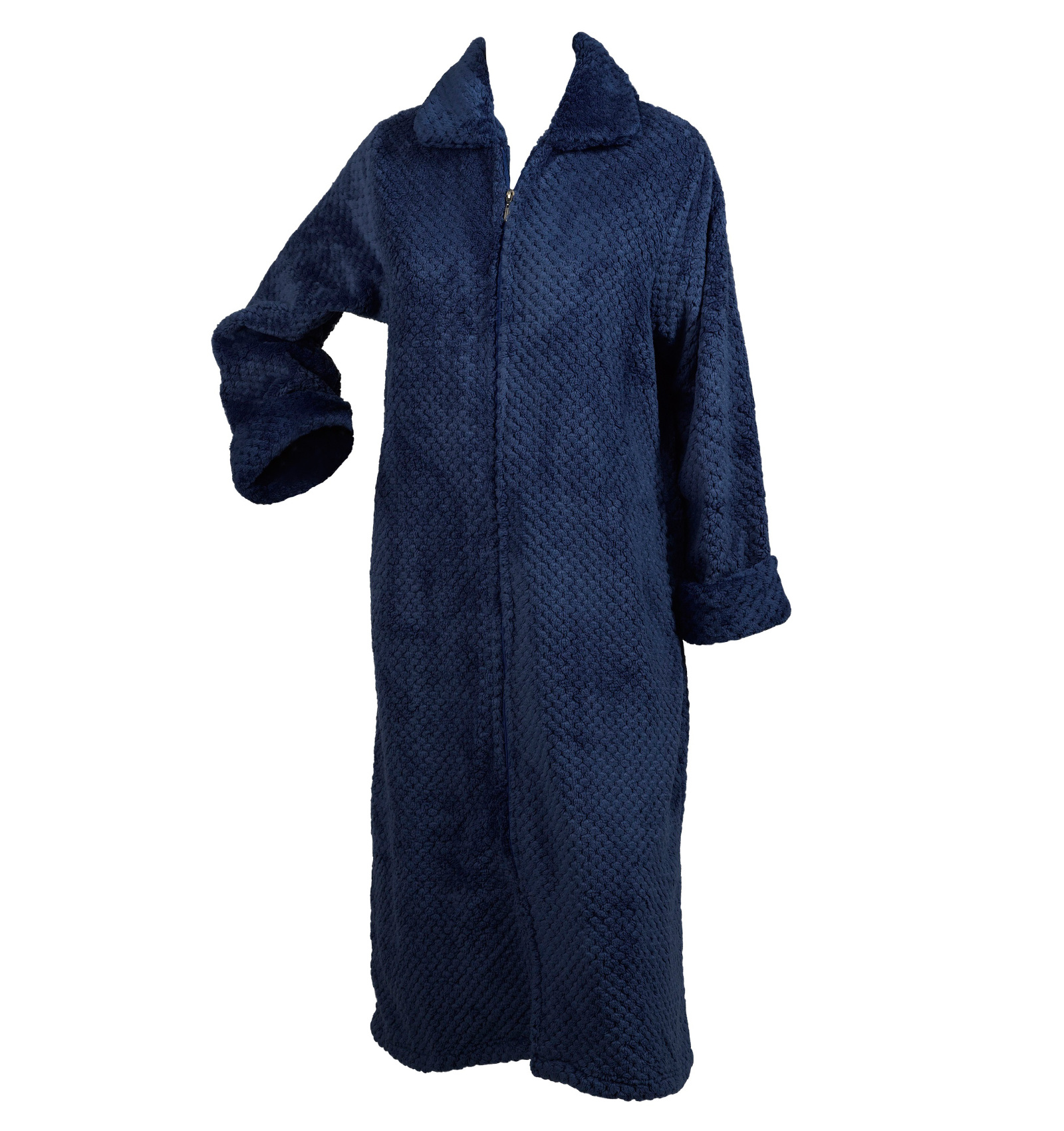 Slenderella Ladies Soft Waffle Fleece Dressing Gown Button Zip Wrap ... e011bbfc1