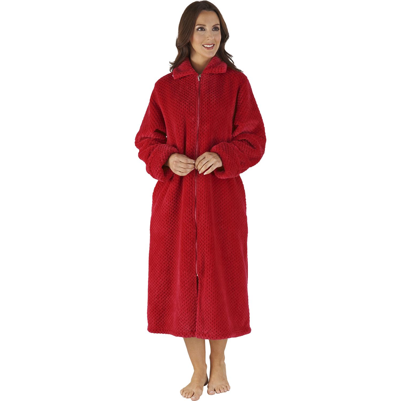 Slenderella Ladies Soft Waffle Fleece Dressing Gown Button Zip Wrap