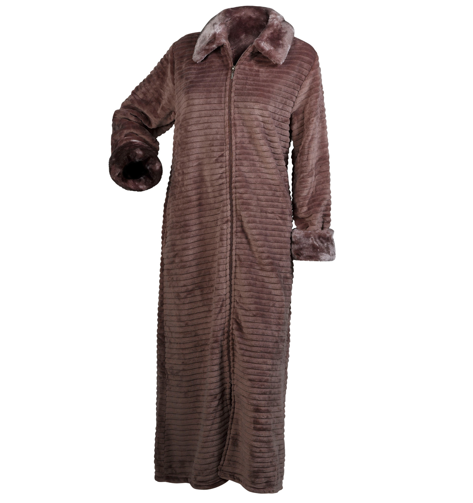 Slenderella Ladies Ribbed Dressing Gown Button Zip Wrap Faux Fur